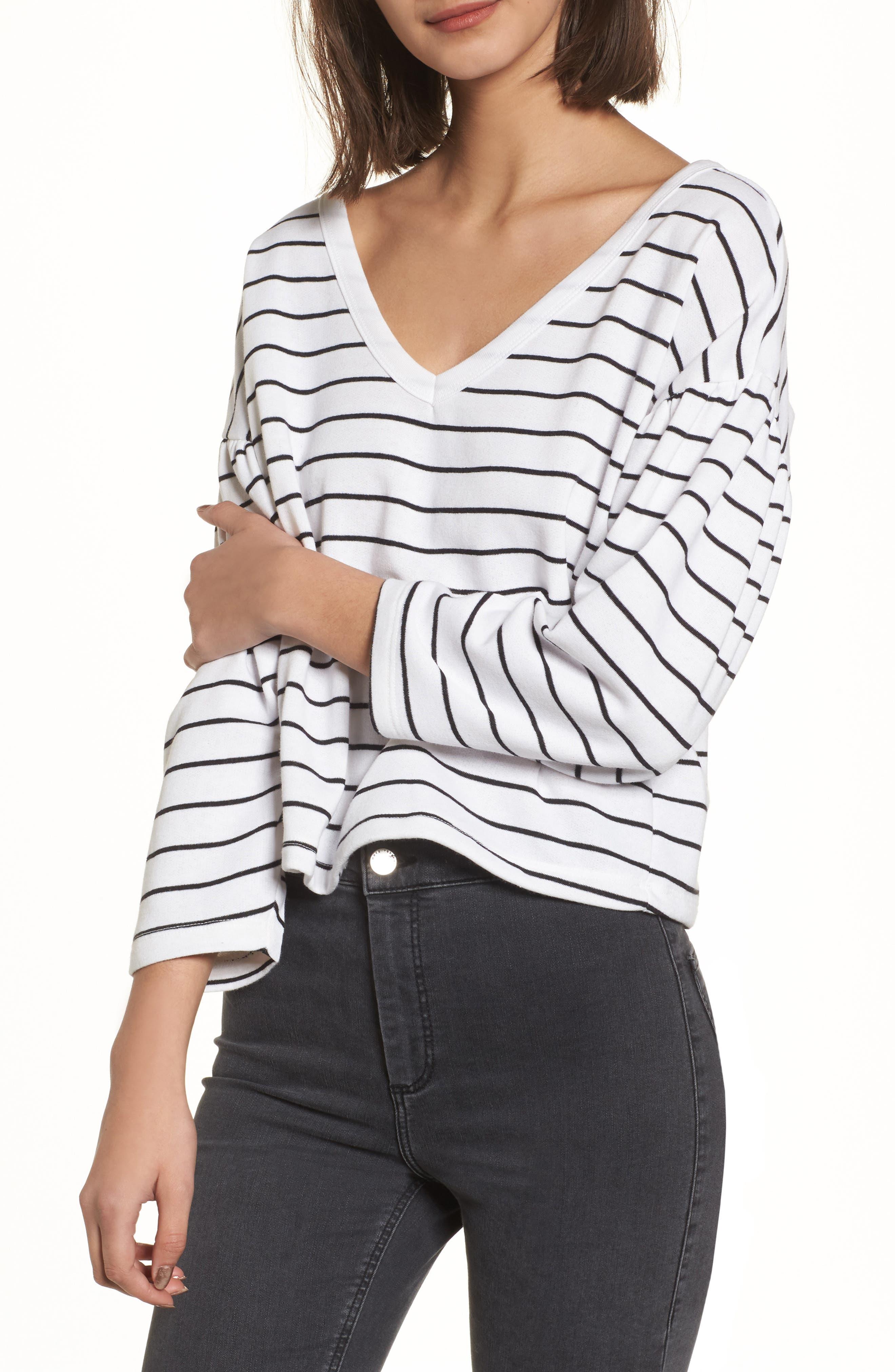 Drop Shoulder Stripe Sweater,                             Main thumbnail 1, color,                             White Liz Stripe