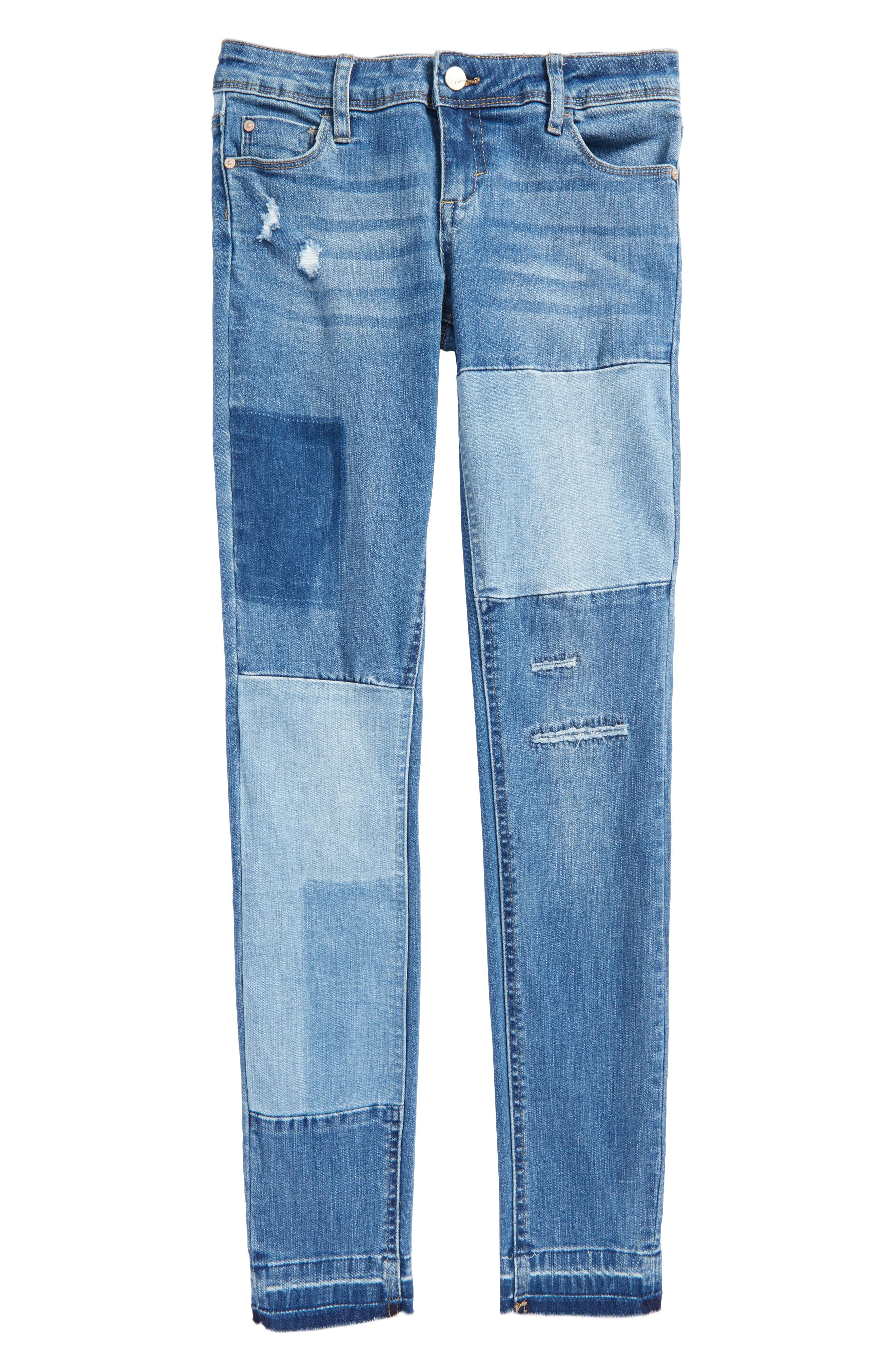 Alternate Image 1 Selected - Tractr Patchwork Skinny Jeans (Big Girls)