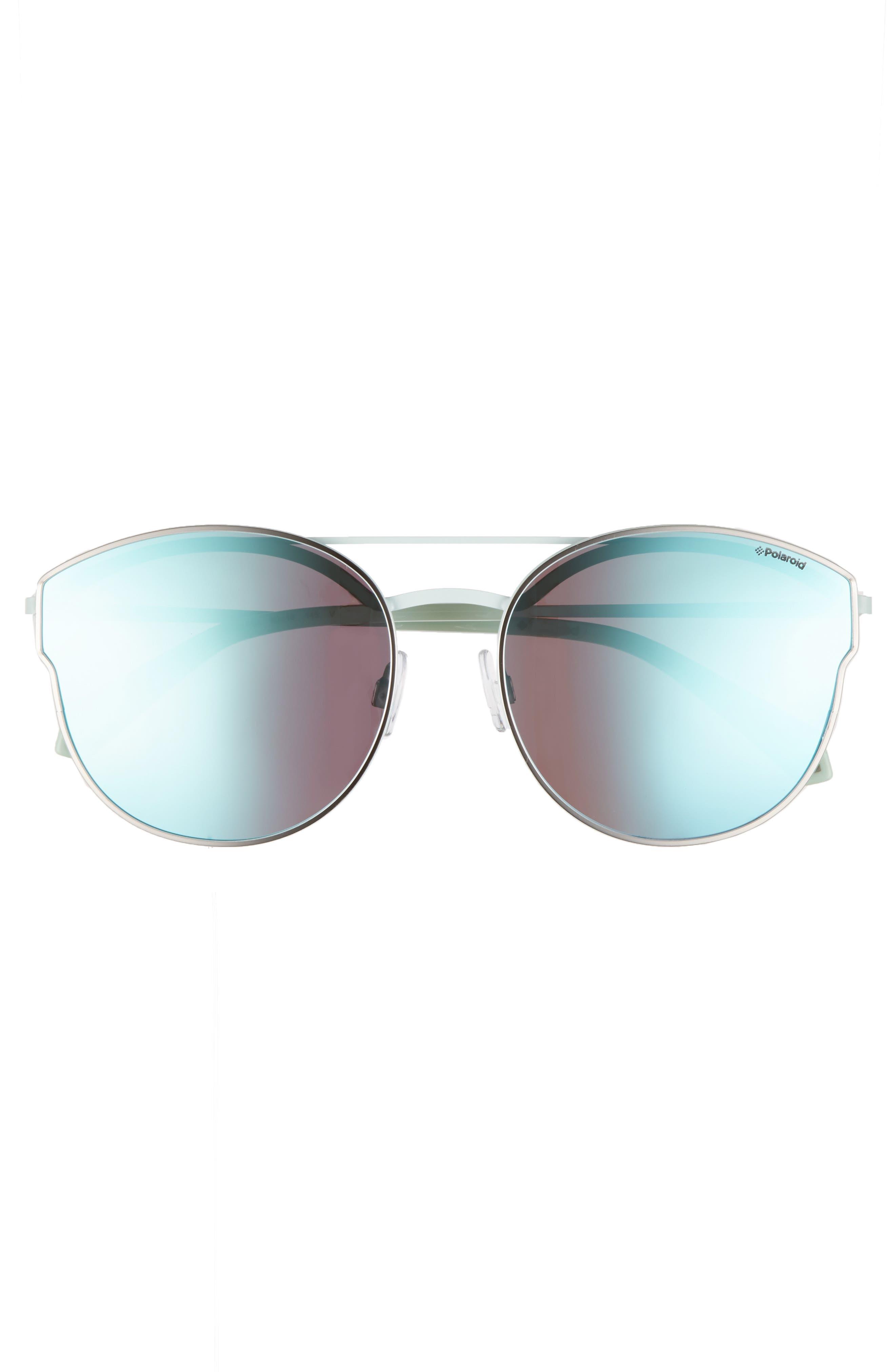 60mm Polarized Round Aviator Sunglasses,                             Alternate thumbnail 2, color,                             Ruthenium