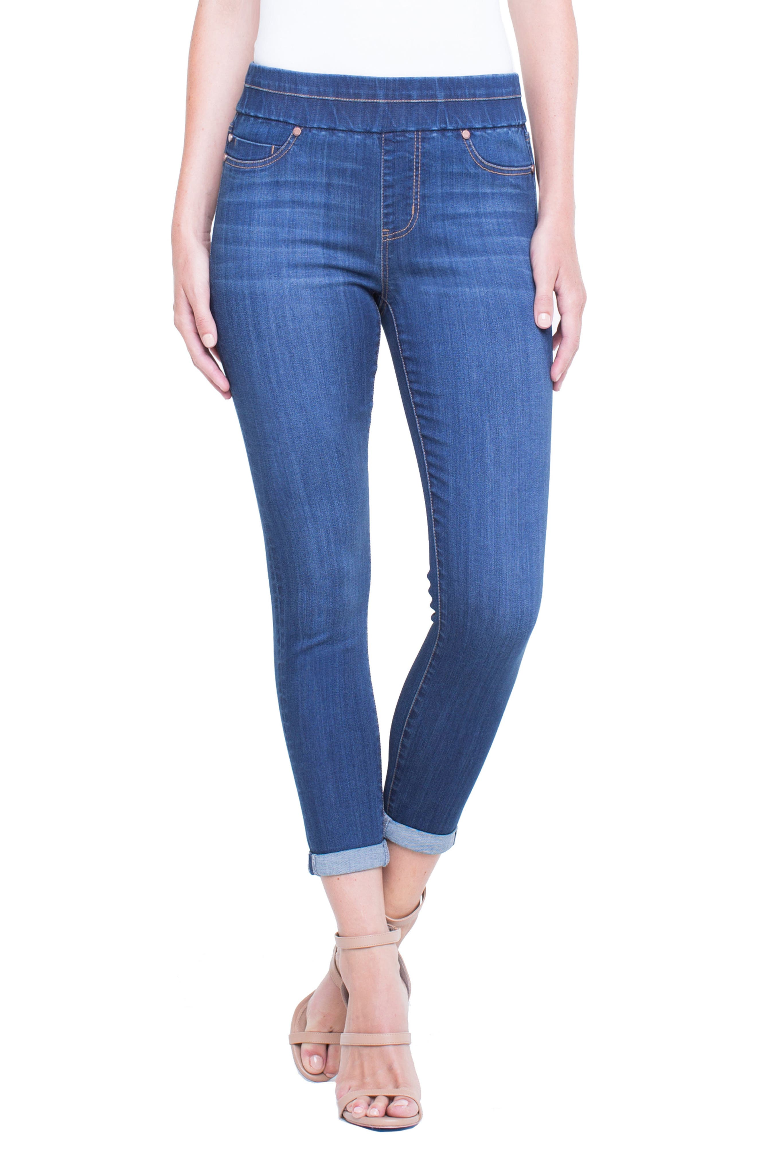 Alternate Image 1 Selected - Liverpool Jeans Company Zoe Pull-On Rolled Cuff Crop Jeans