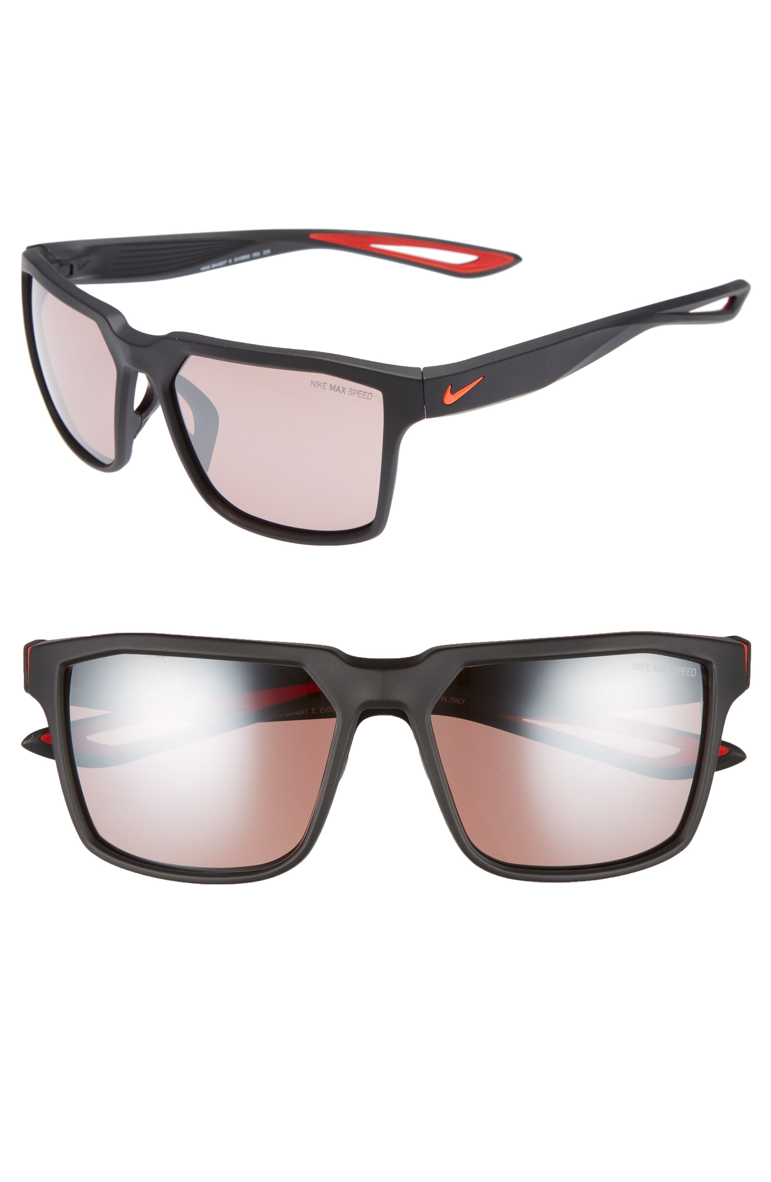 Bandit E 59mm Running Sunglasses,                         Main,                         color, Matte Black/ Bright Crimson