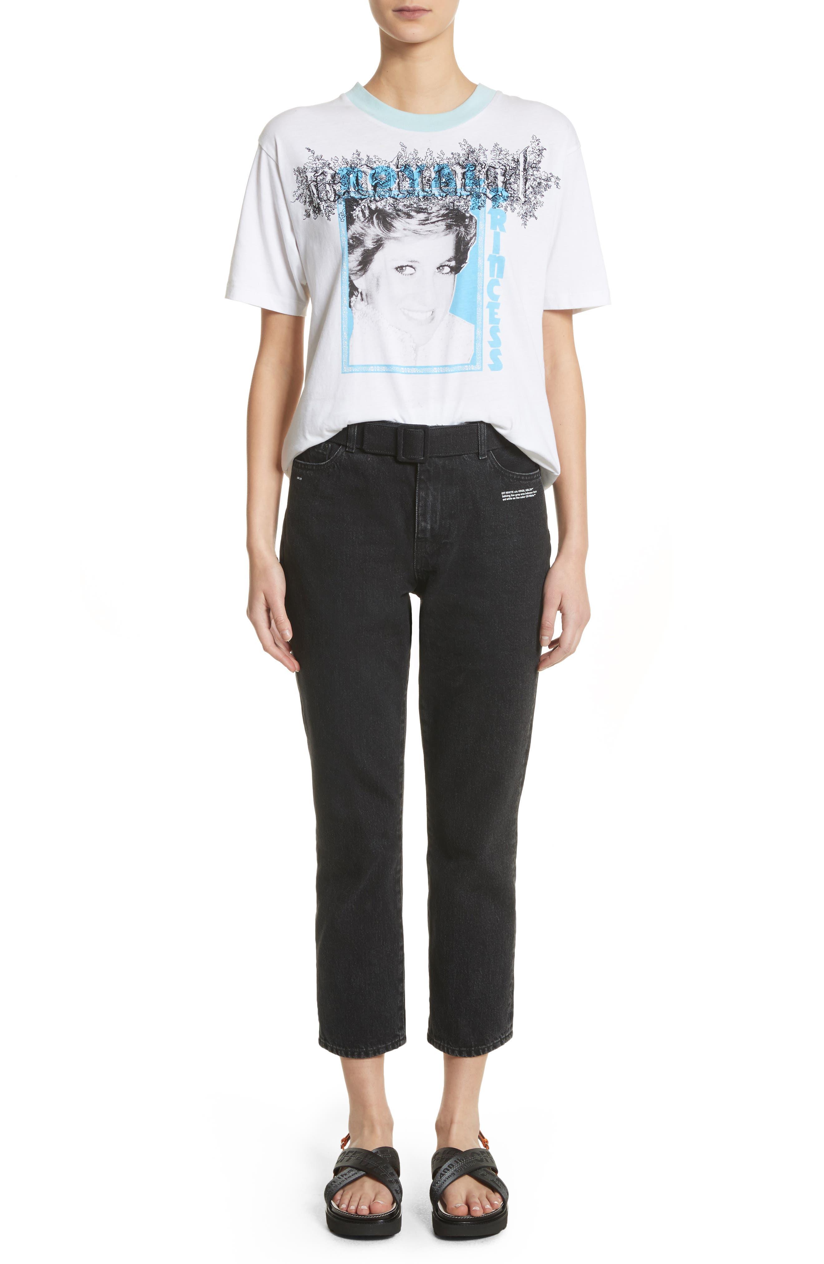 Belted Jeans,                             Alternate thumbnail 7, color,                             Black Vintage Bla