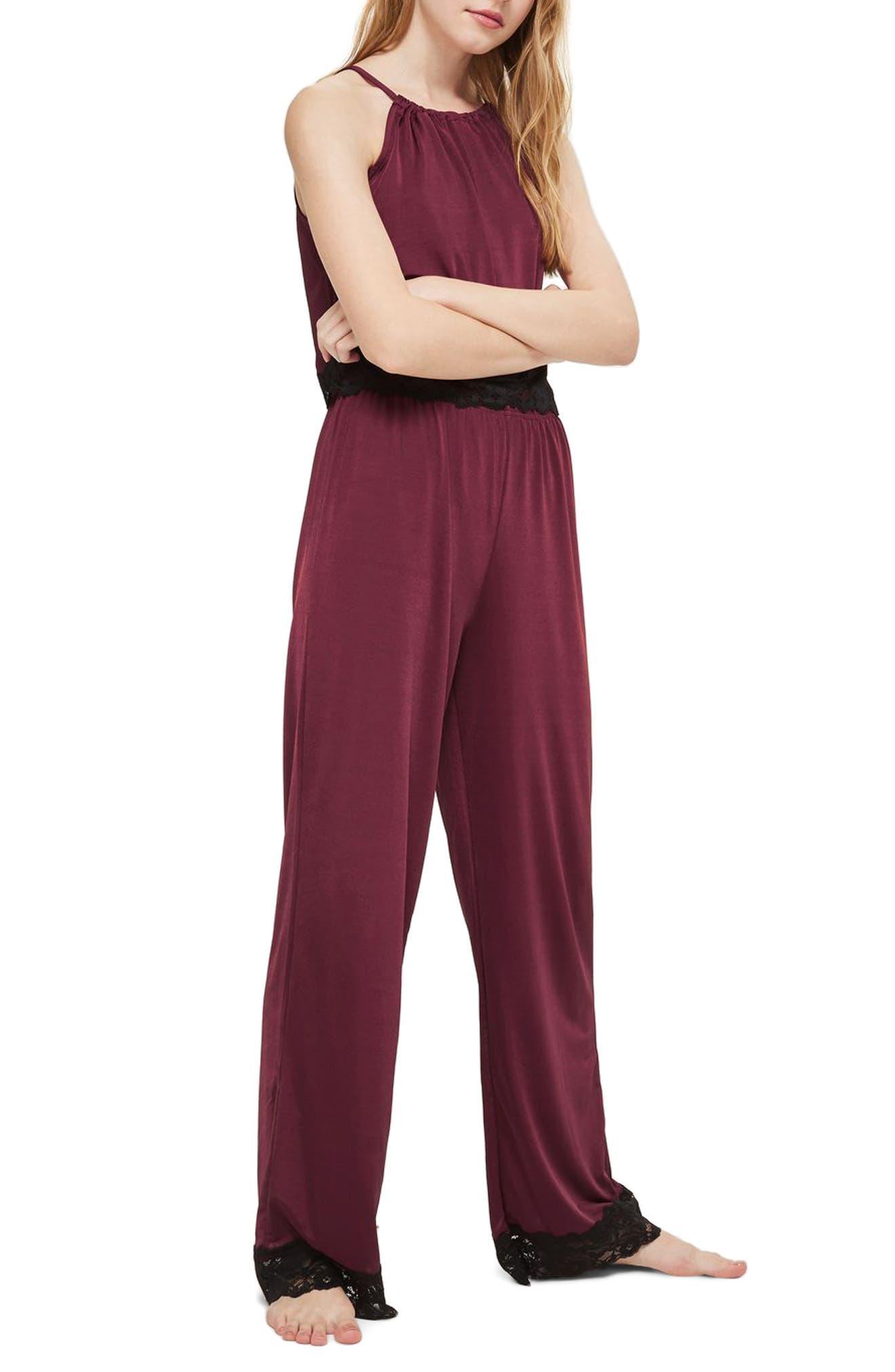 Jersey Satin & Lace Pajama Pants,                         Main,                         color, Berry Multi
