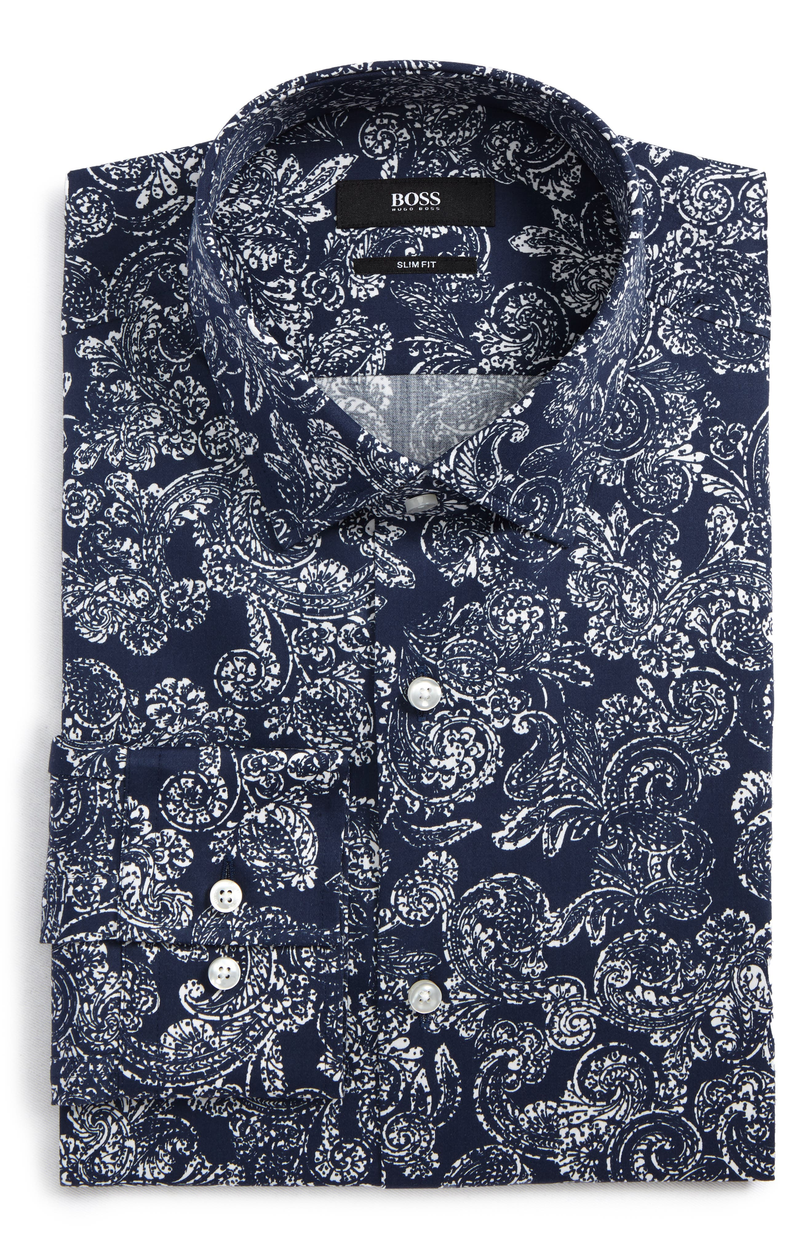 Slim Fit Paisley Dress Shirt,                         Main,                         color, Navy