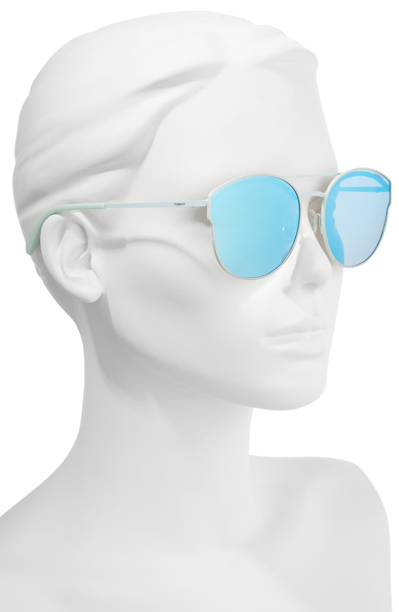 60mm Polarized Round Aviator Sunglasses,                             Alternate thumbnail 3, color,                             Ruthenium