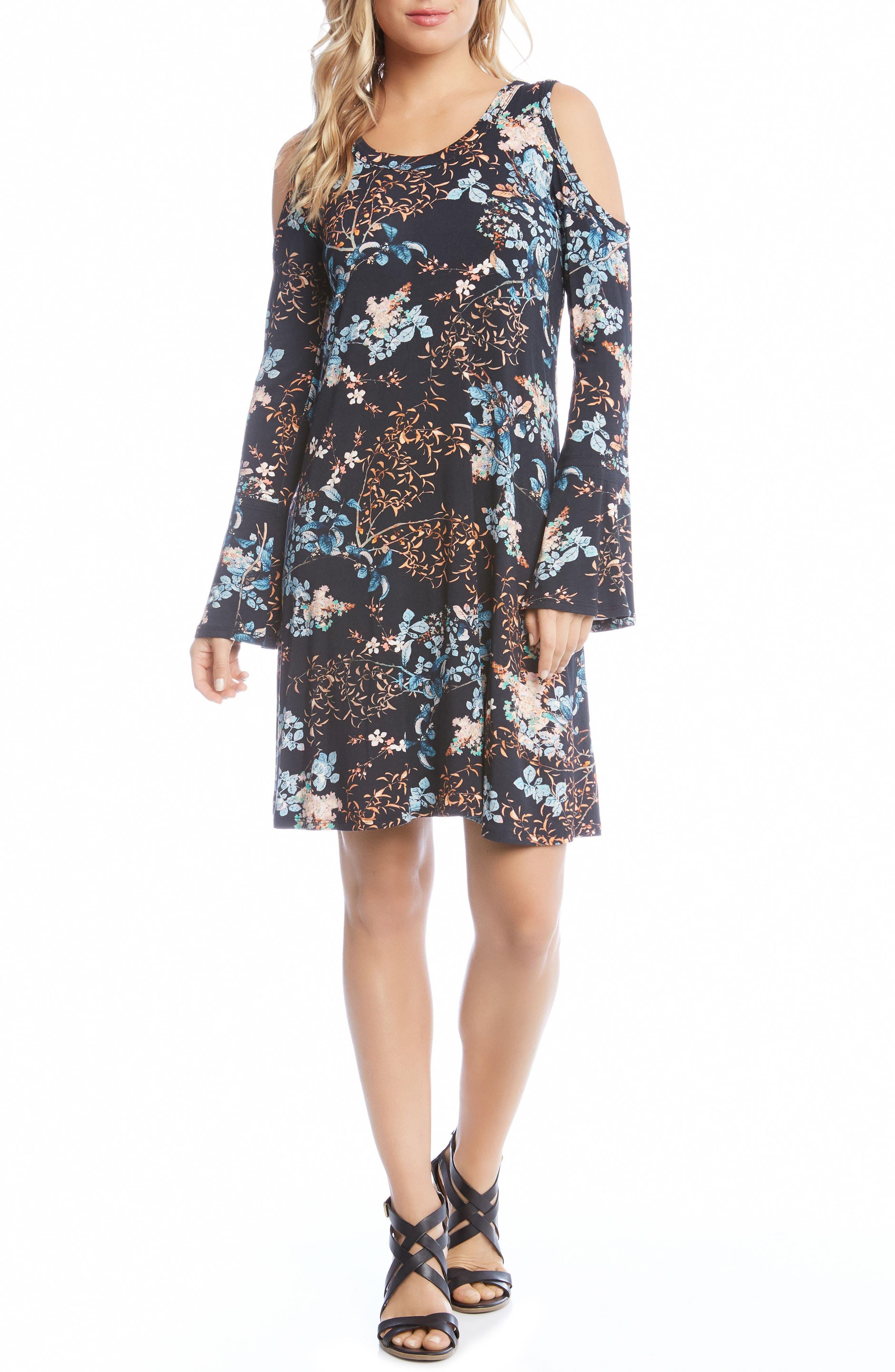 Cold Shoulder Floral A-Line Dress,                             Main thumbnail 1, color,                             Print