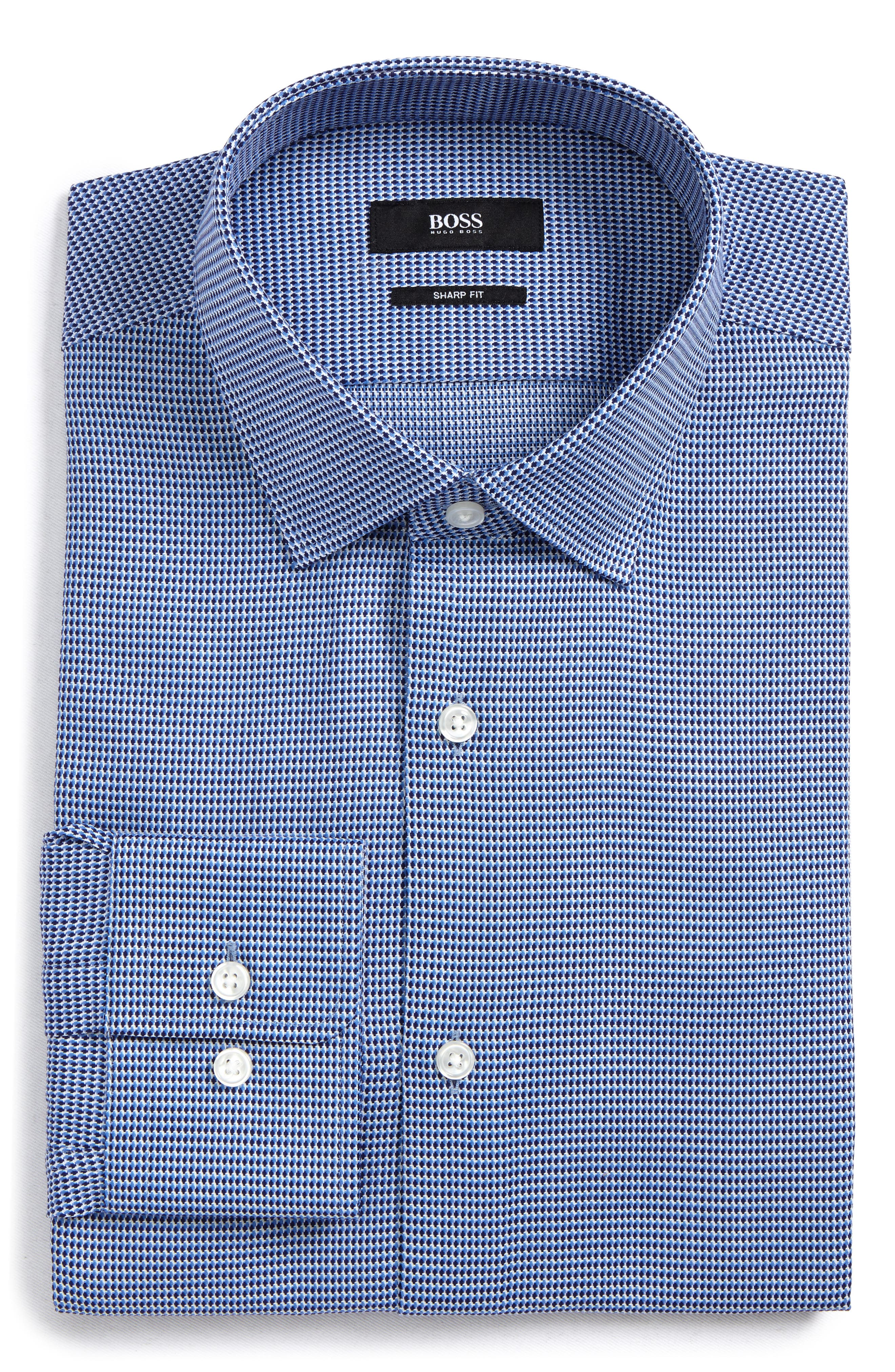 Gordon Regular Fit Print Dress Shirt,                         Main,                         color, Light Blue