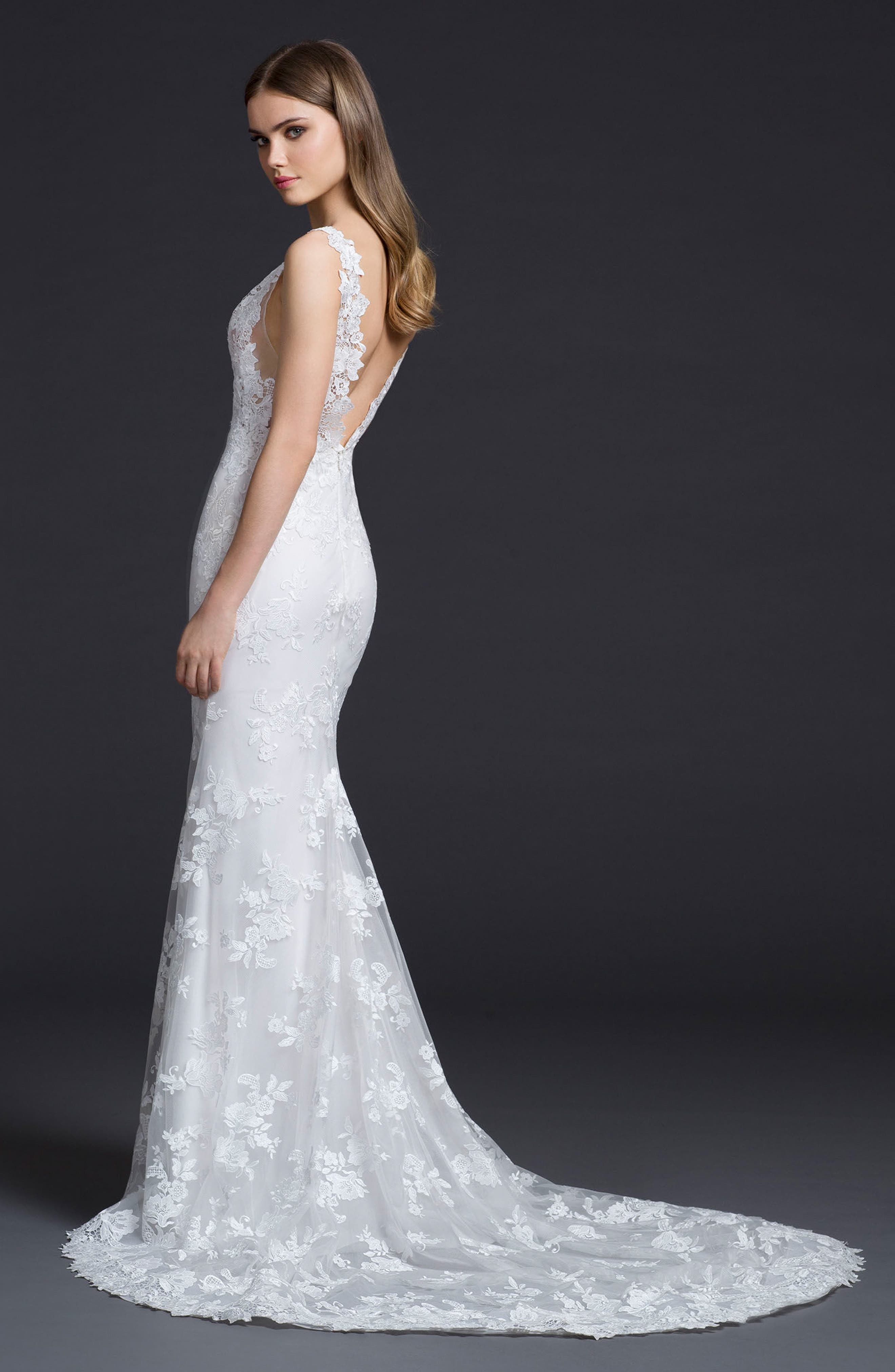 Venice Lace Sheath Gown,                             Alternate thumbnail 2, color,                             Ivory