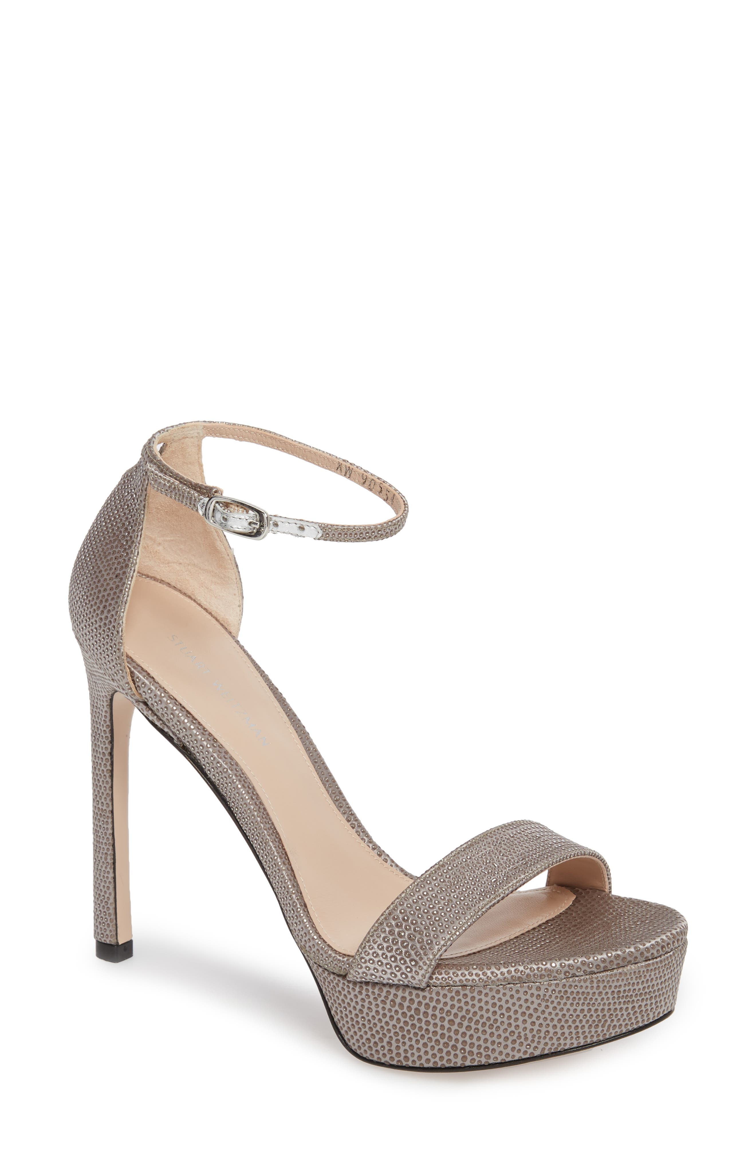 Stuart Weitzamn SOHOT Platform Sandal,                         Main,                         color, Plata Crystaline