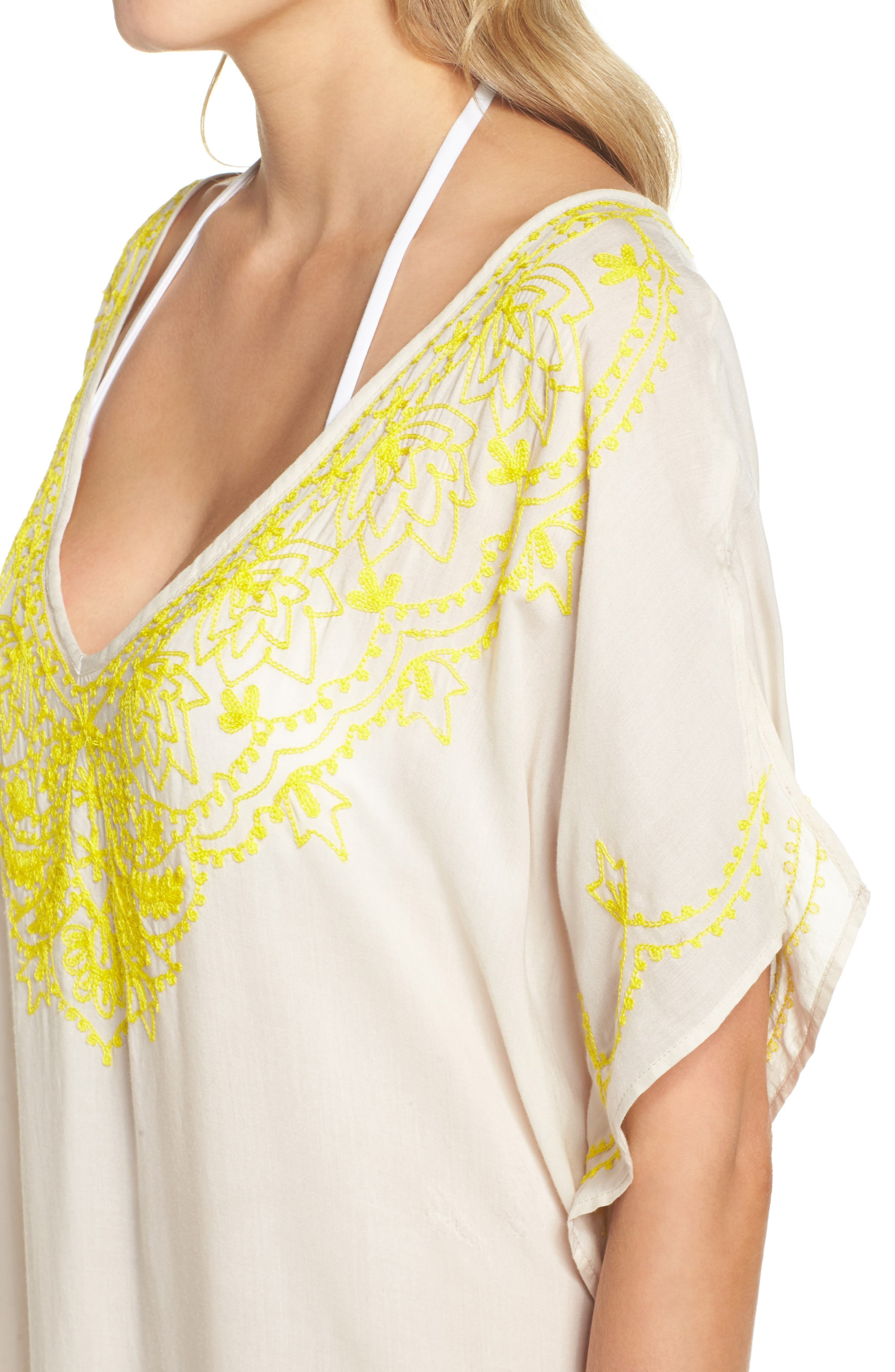Embroidered Cover-Up Caftan,                             Alternate thumbnail 3, color,                             Stone
