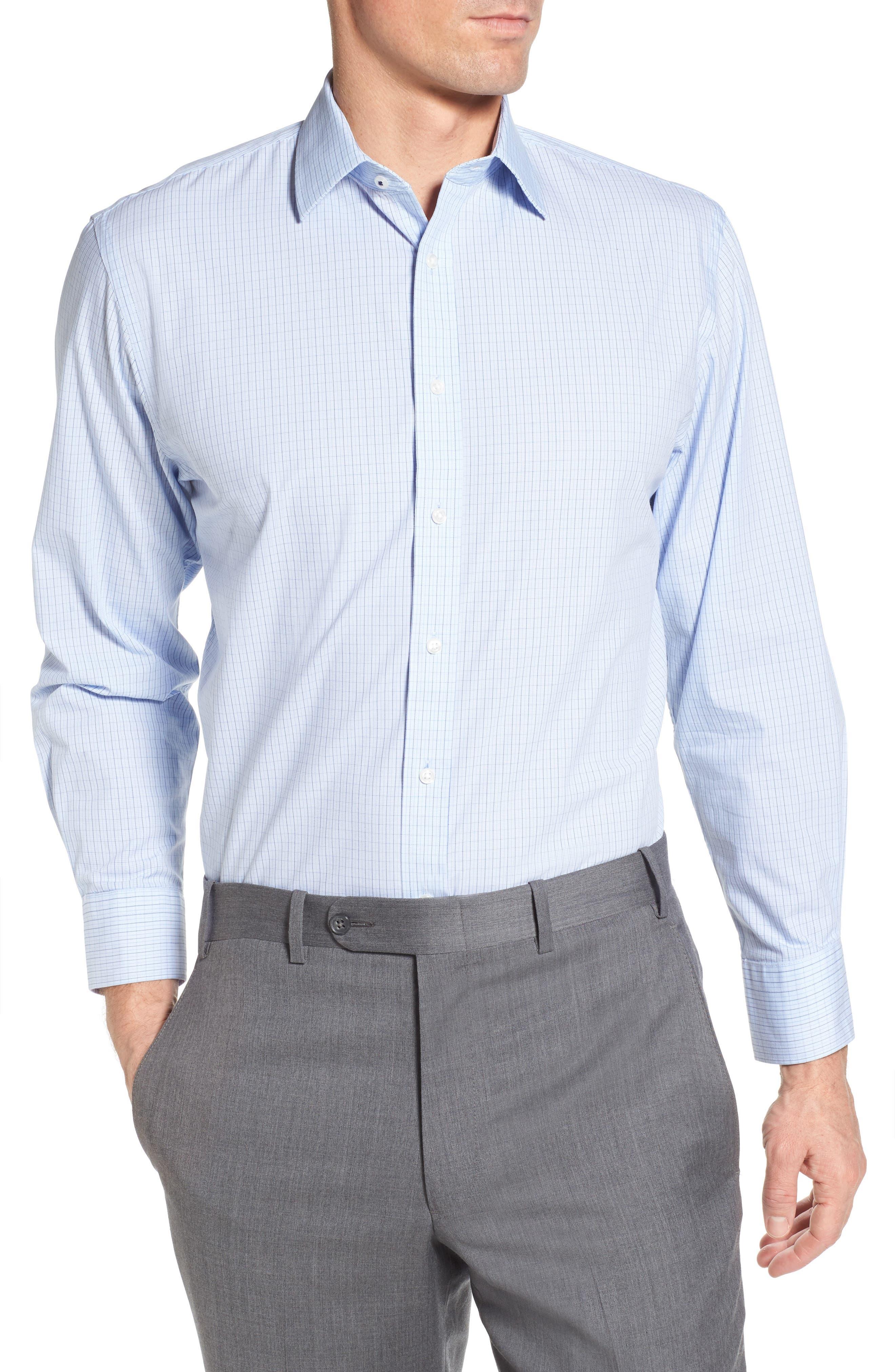 Tech-Smart Traditional Fit Stretch Tattersall Dress Shirt,                         Main,                         color, Blue Brunerra