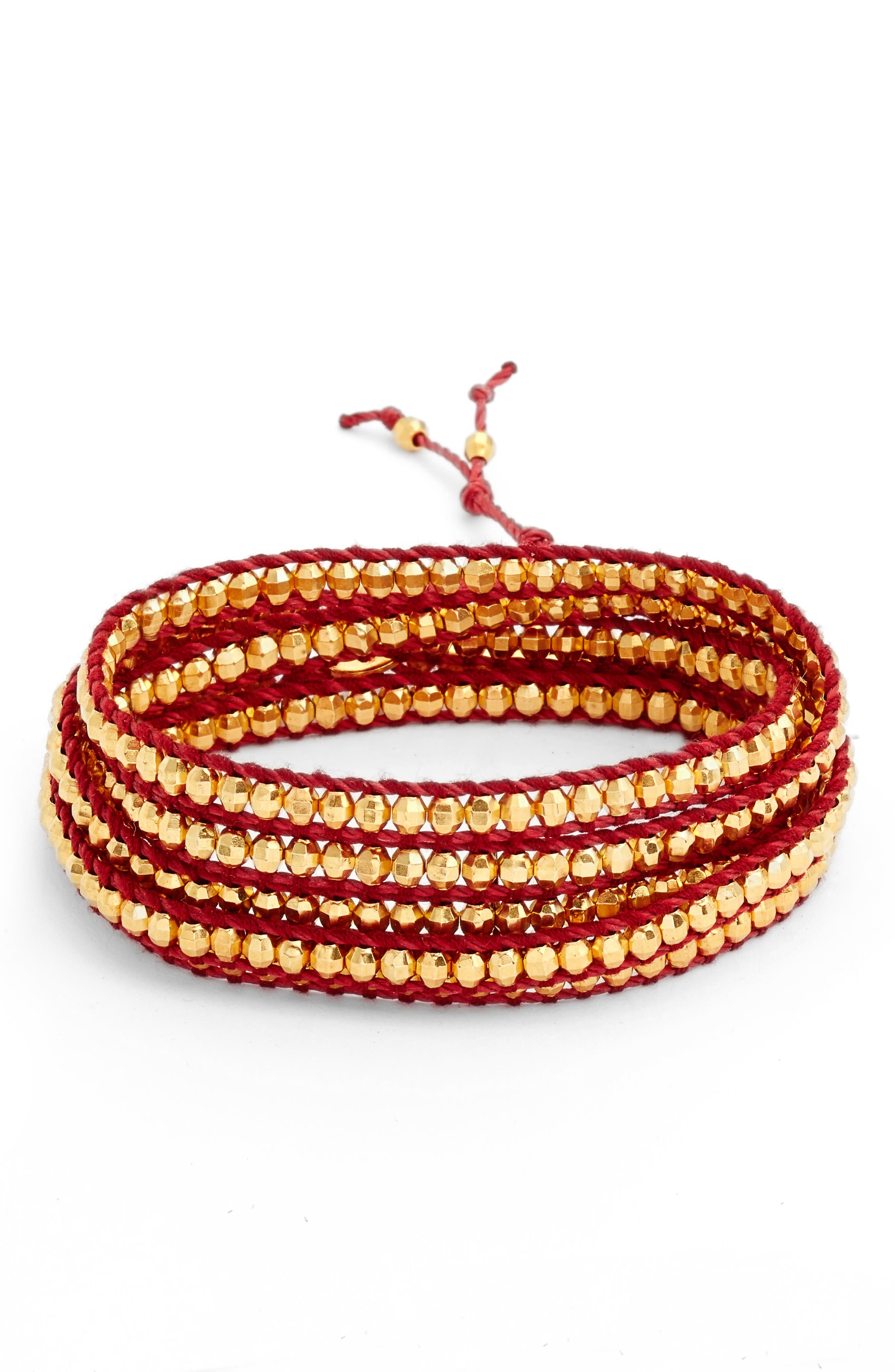 Vermeil Beaded Bracelet,                             Main thumbnail 1, color,                             Yellow Gold/ Red Hot