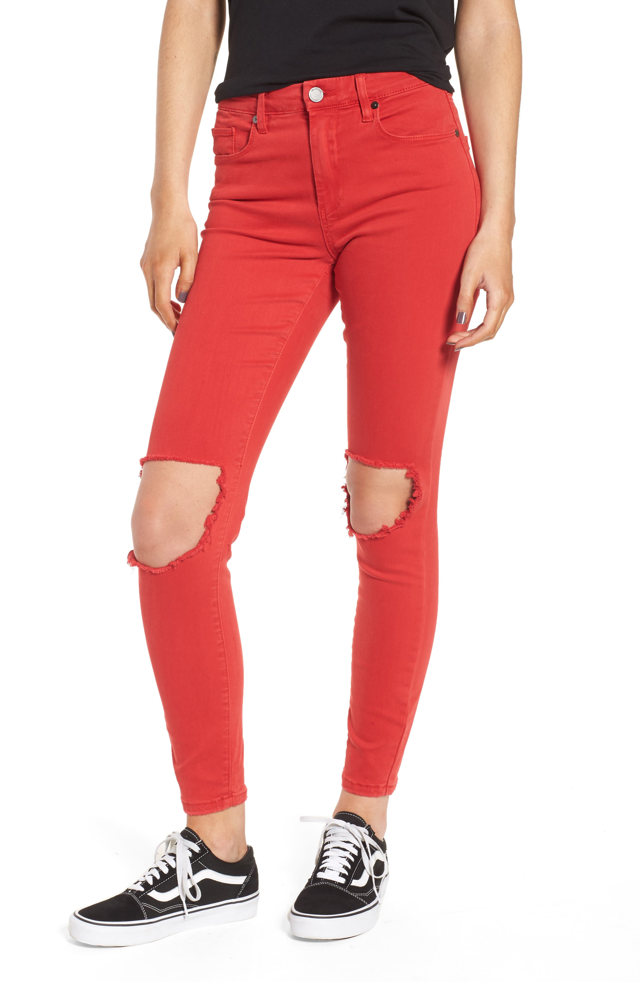 BLANKNYC Cry Baby Ripped Skinny Jeans (Better Off Red)