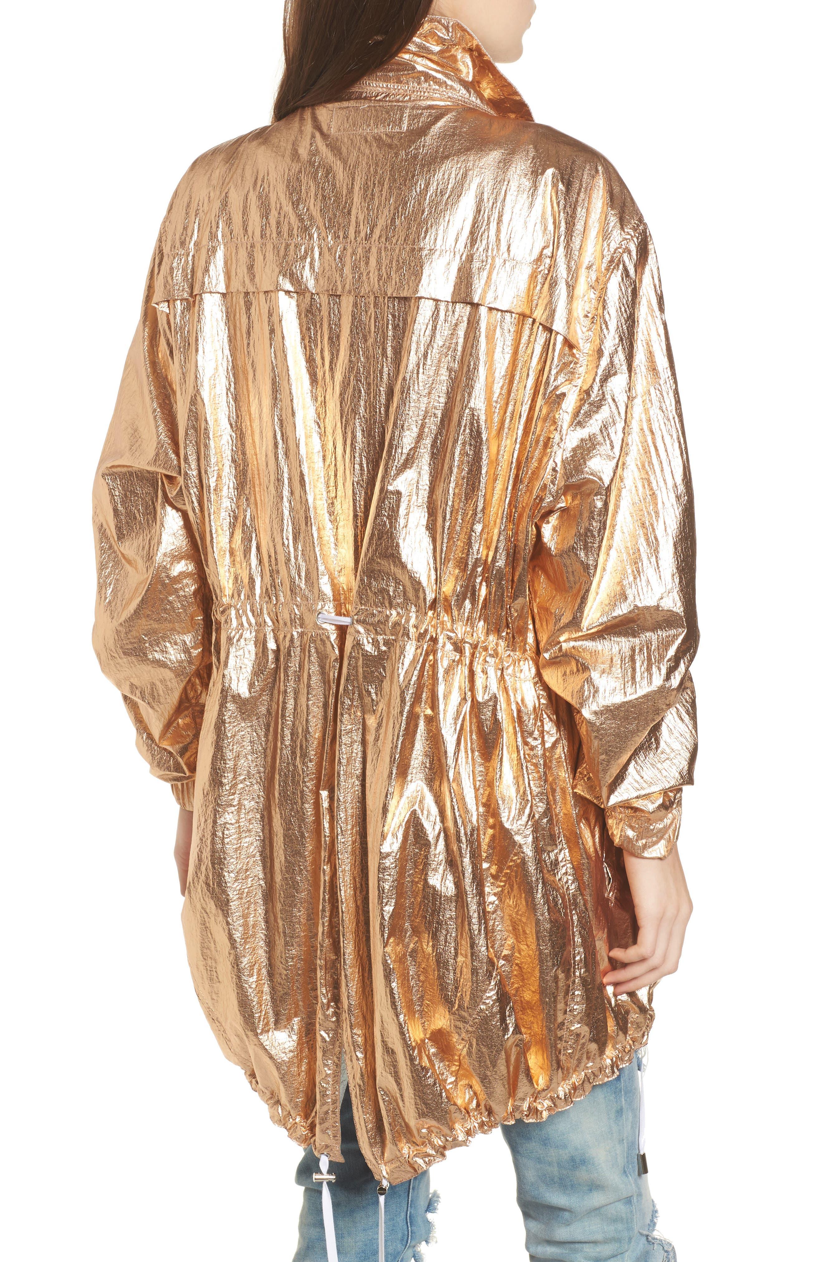 Reversible Metallic Long Jacket,                             Alternate thumbnail 4, color,                             Shine On Rose Gold
