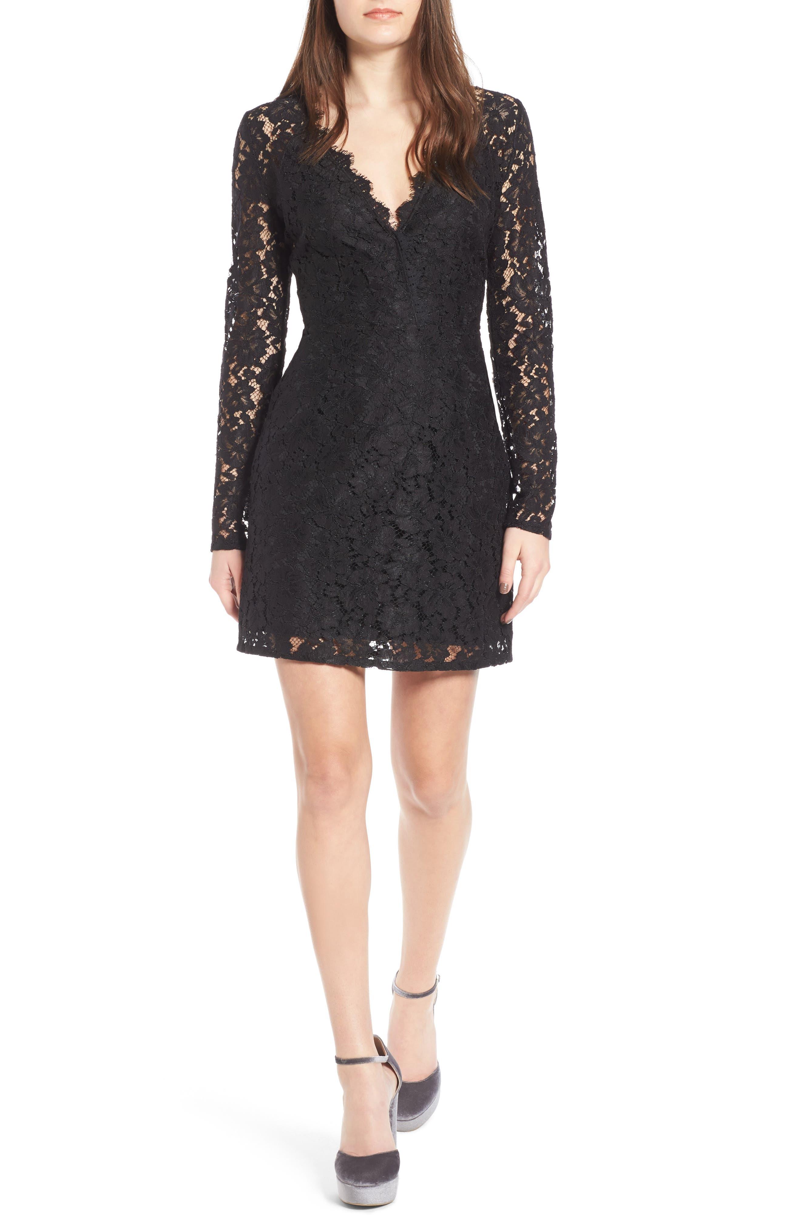 Say It Out Loud Lace Dress,                             Main thumbnail 1, color,                             Black