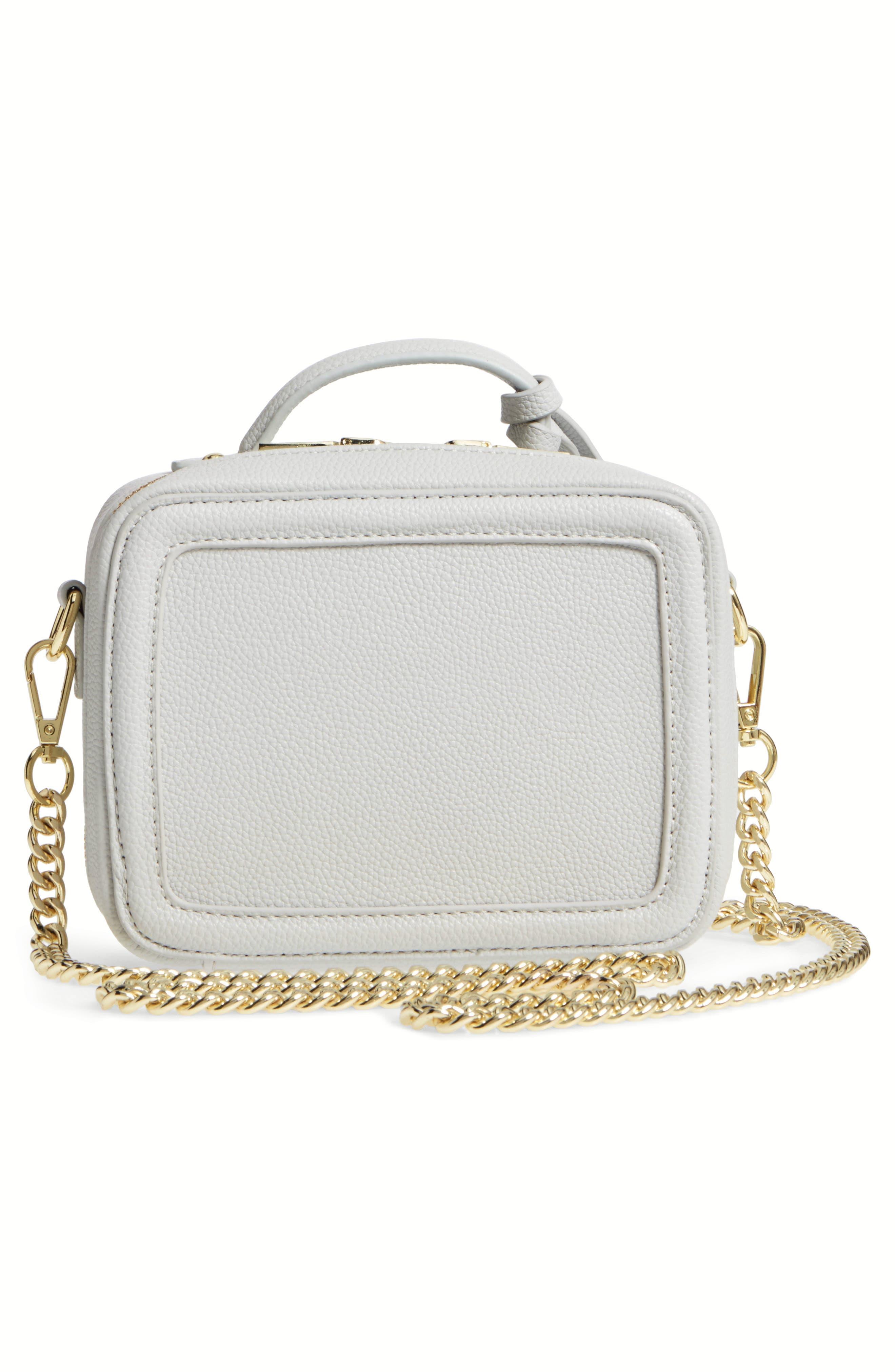 Taylor Faux Leather Crossbody Bag,                             Alternate thumbnail 3, color,                             Light Grey