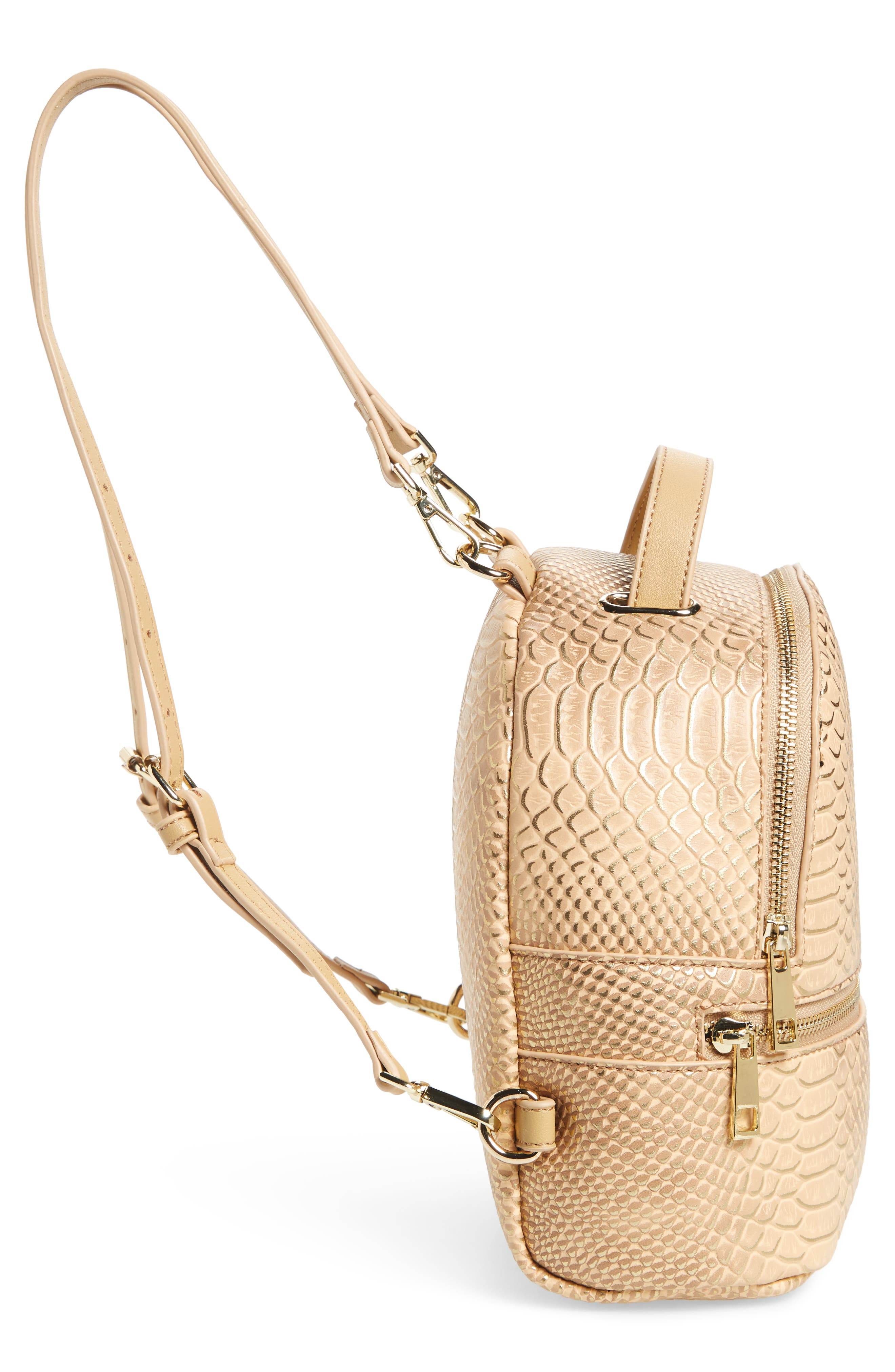 Colette Faux Leather Backpack,                             Alternate thumbnail 5, color,                             Nude Snake