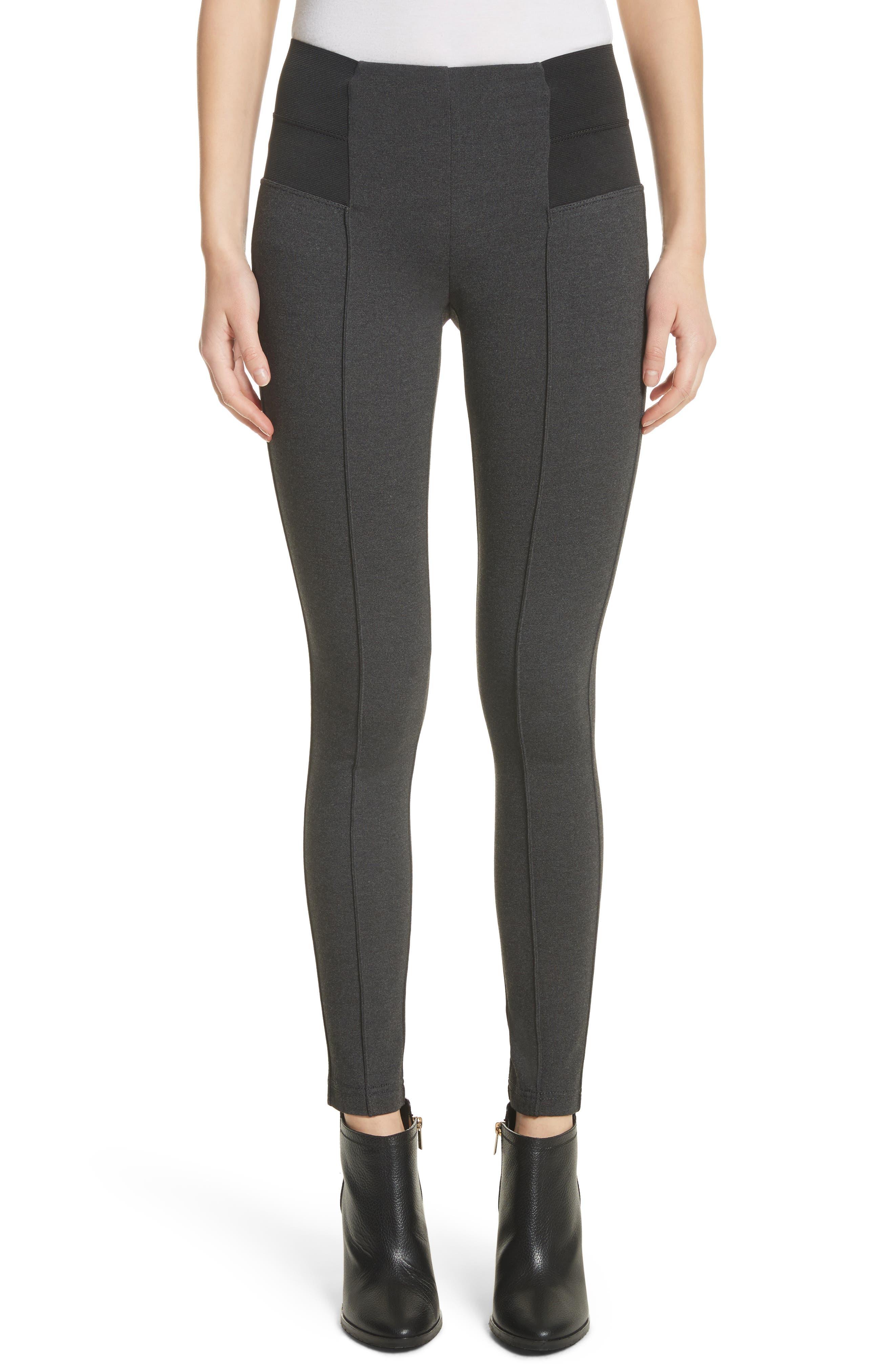 Pintuck Seam Punto Milano Skinny Pants,                         Main,                         color, Smoke