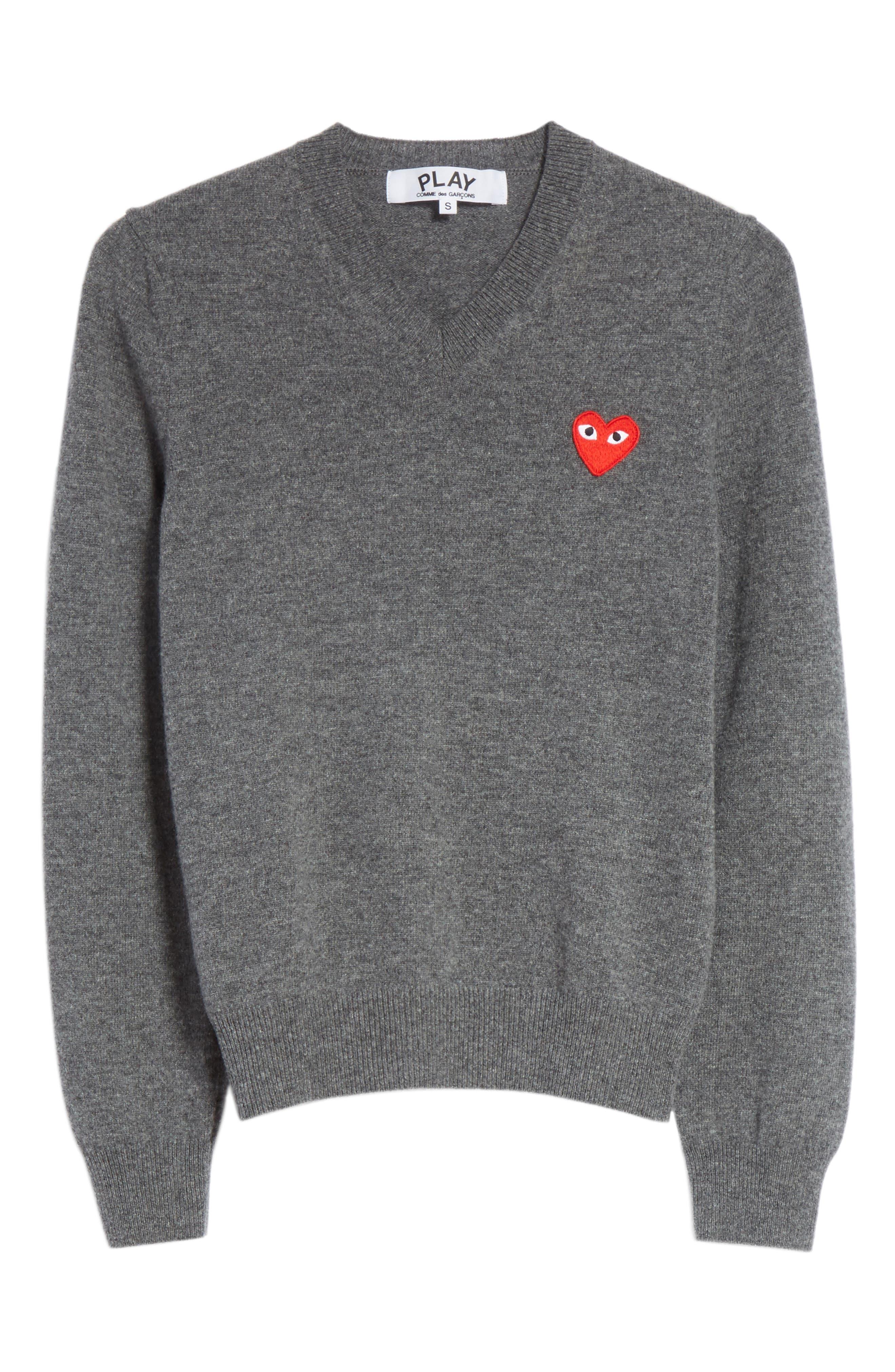 Comme des Garçons PLAY Wool V-Neck Sweater,                             Alternate thumbnail 6, color,                             Grey