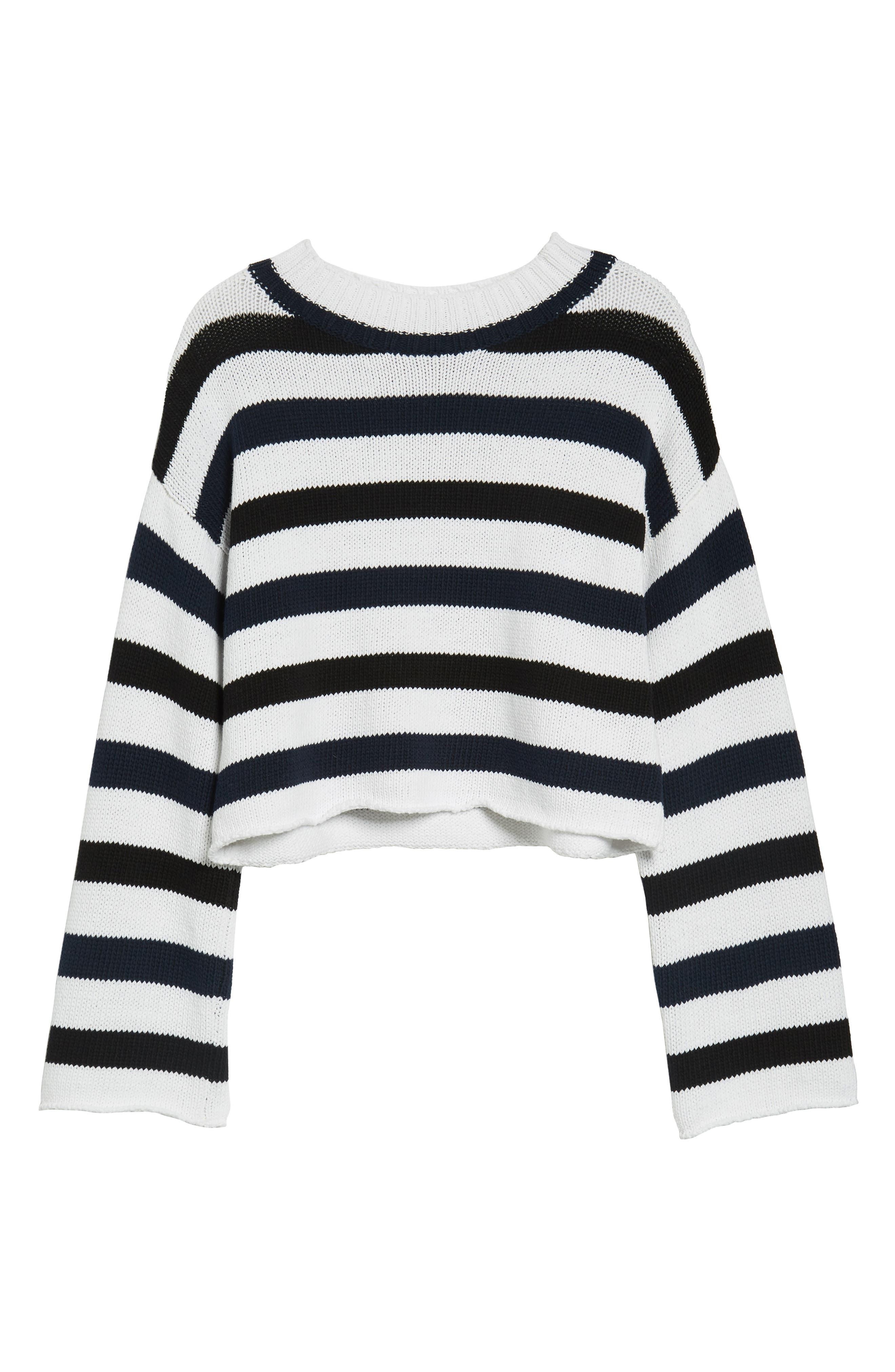 Wide Stripe Crop Sweater,                             Alternate thumbnail 6, color,                             Indigo-White