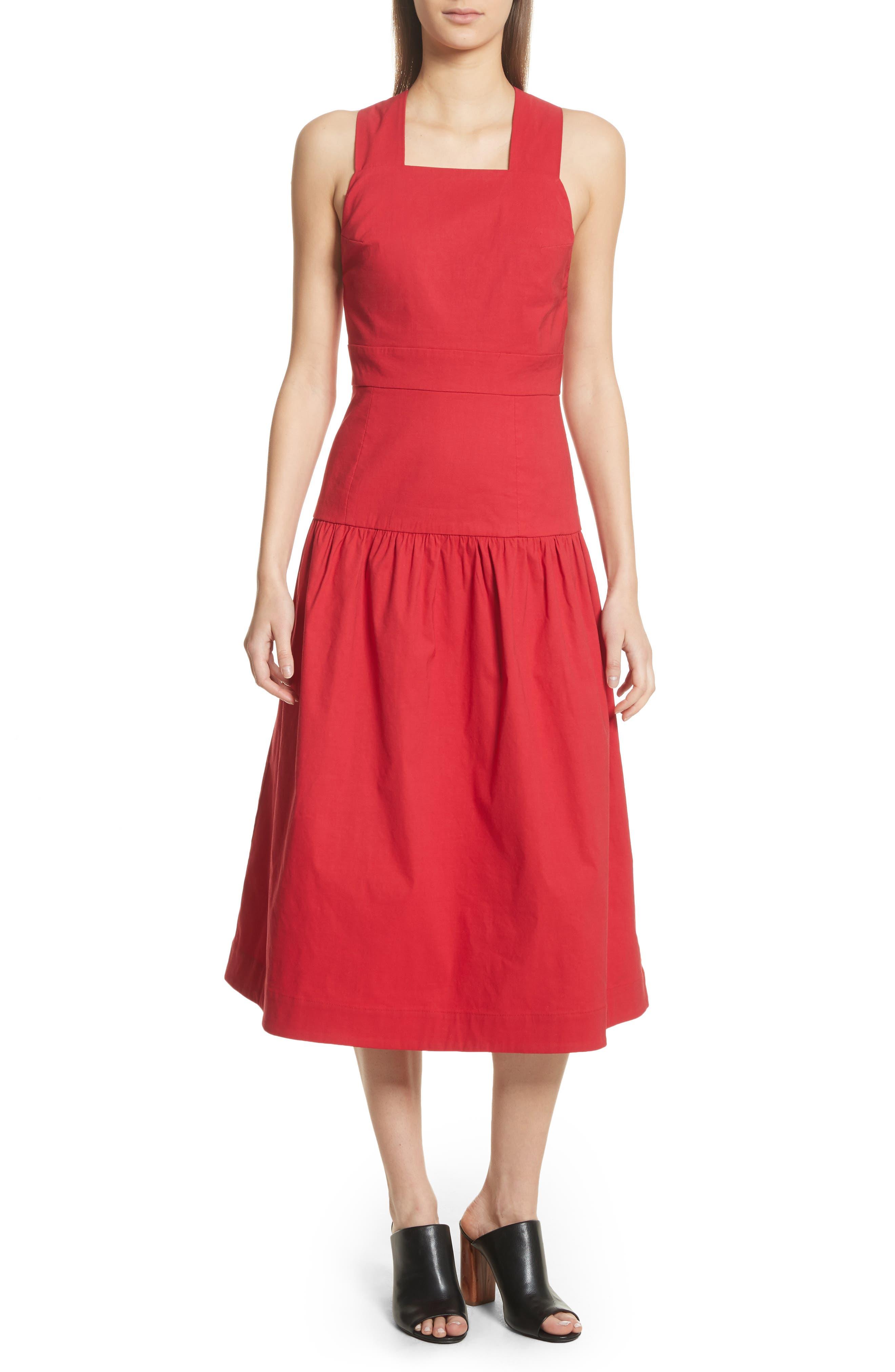 Cecily Cotton & Linen Blend Midi Dress,                             Main thumbnail 1, color,                             Red