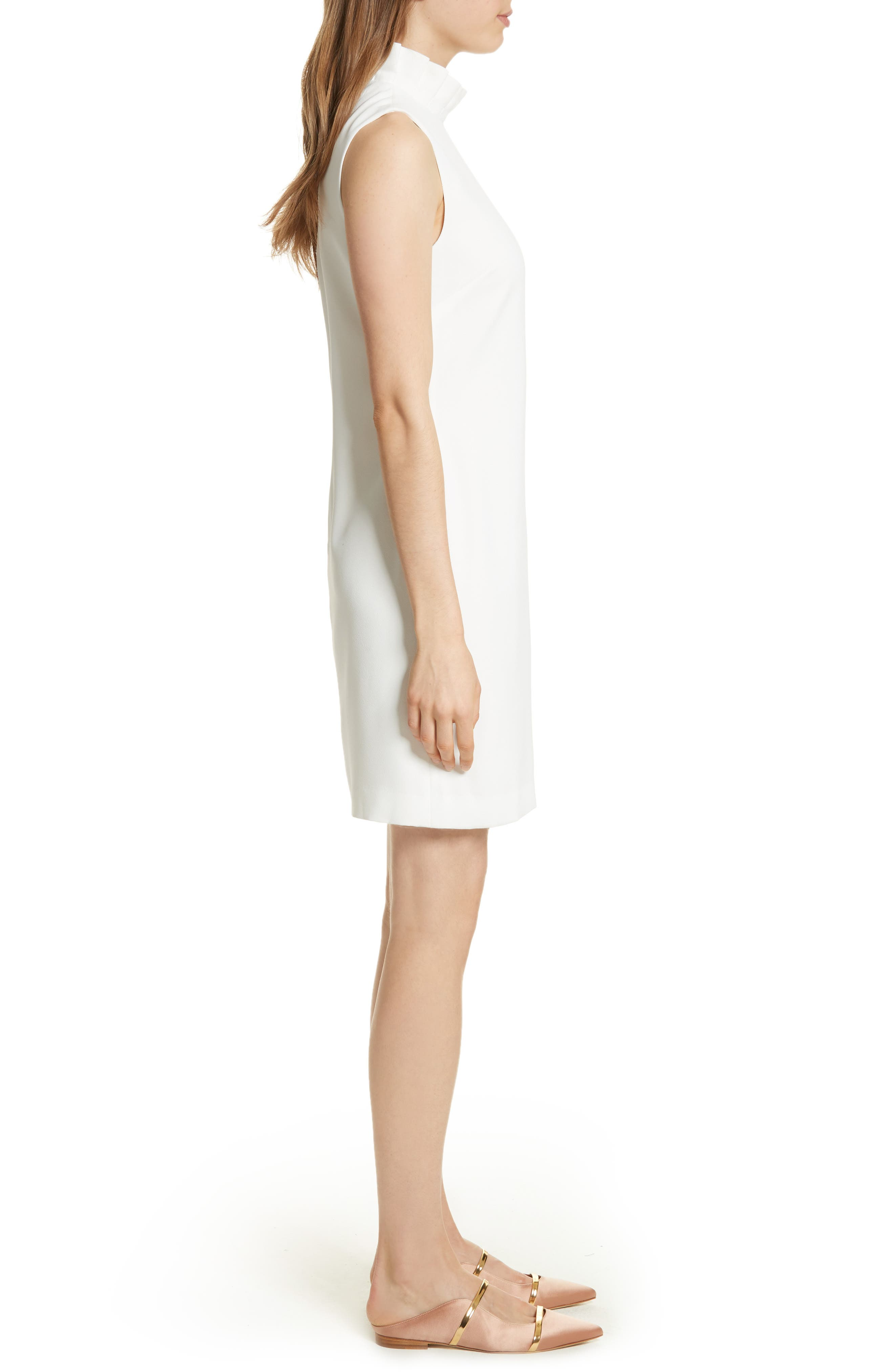 Pleat Ruffle Shift Dress,                             Alternate thumbnail 3, color,                             White