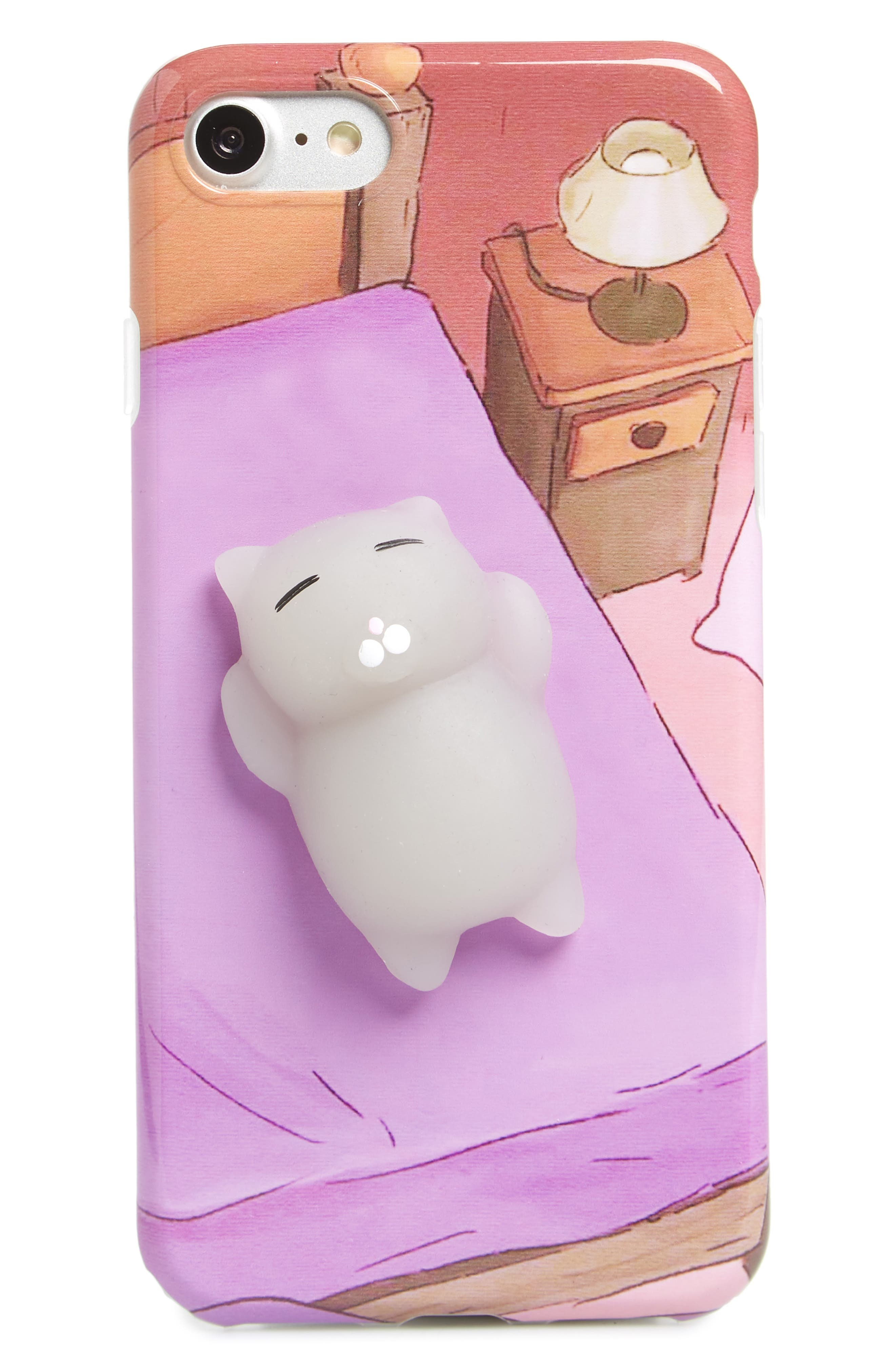 Squishy Cat in Bed iPhone 7/8 Case,                             Main thumbnail 1, color,                             Purple Multi