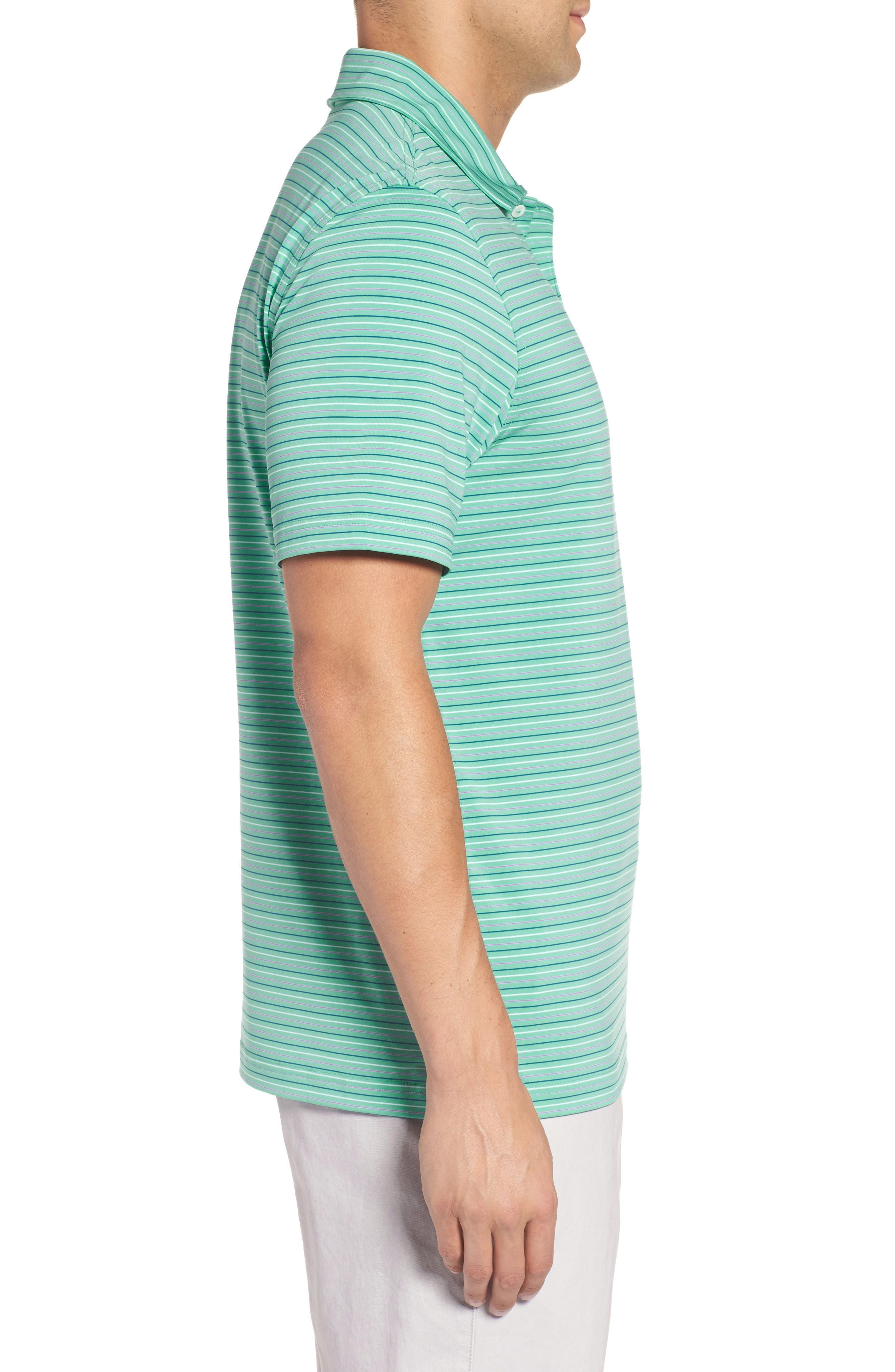 Multicolor Stripe Polo,                             Alternate thumbnail 3, color,                             Antigua Green