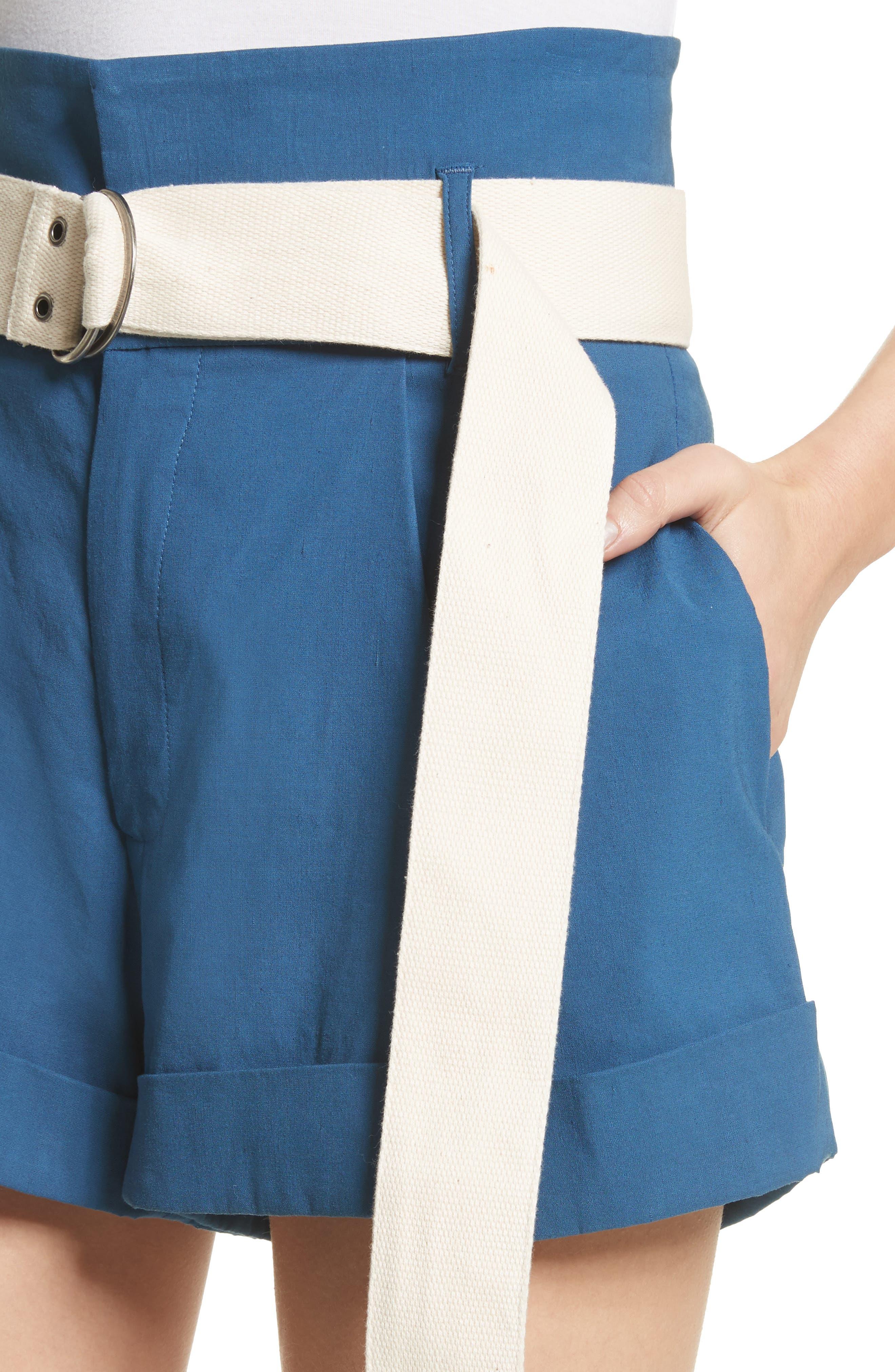 Poppy Belted Cotton & Linen Blend Shorts,                             Alternate thumbnail 4, color,                             Blue