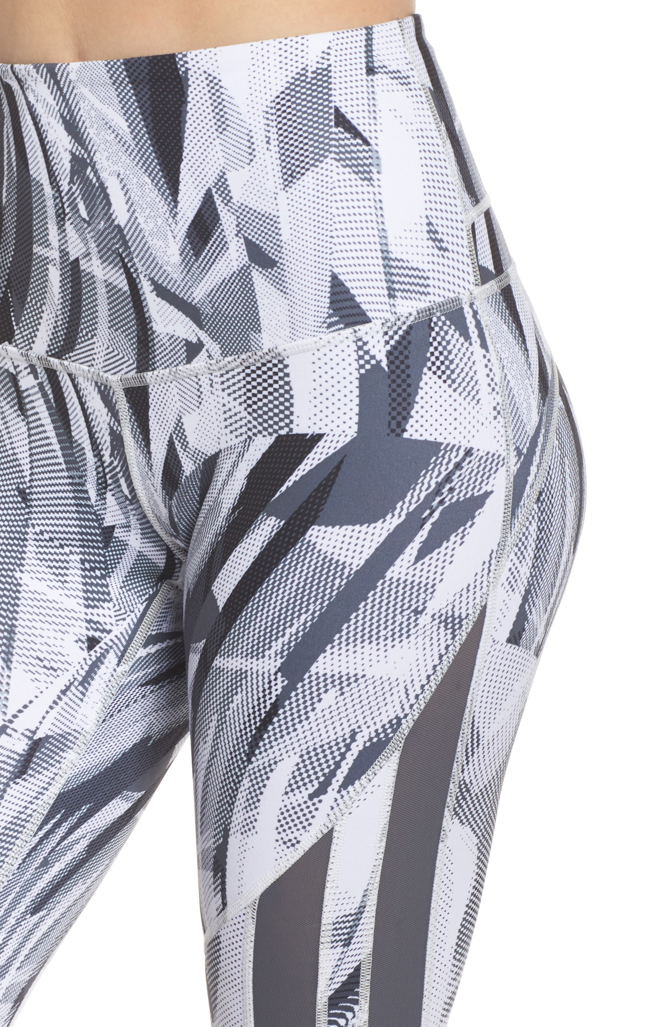 Sheer to There High Waist Crop Leggings,                             Alternate thumbnail 4, color,                             White Atmospheric Camo Print