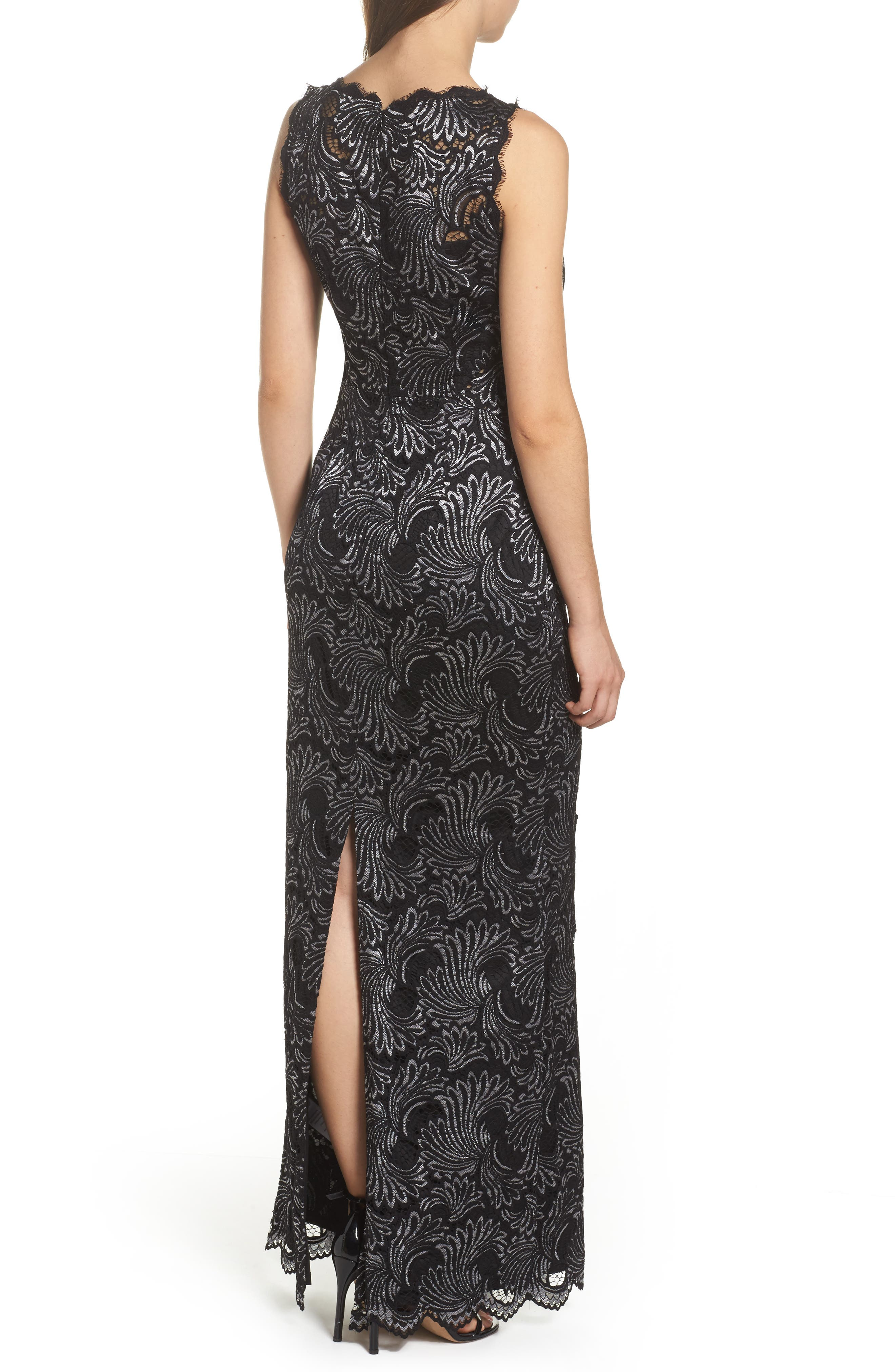 Two-Tone Lace Gown,                             Alternate thumbnail 2, color,                             Black/ Silver