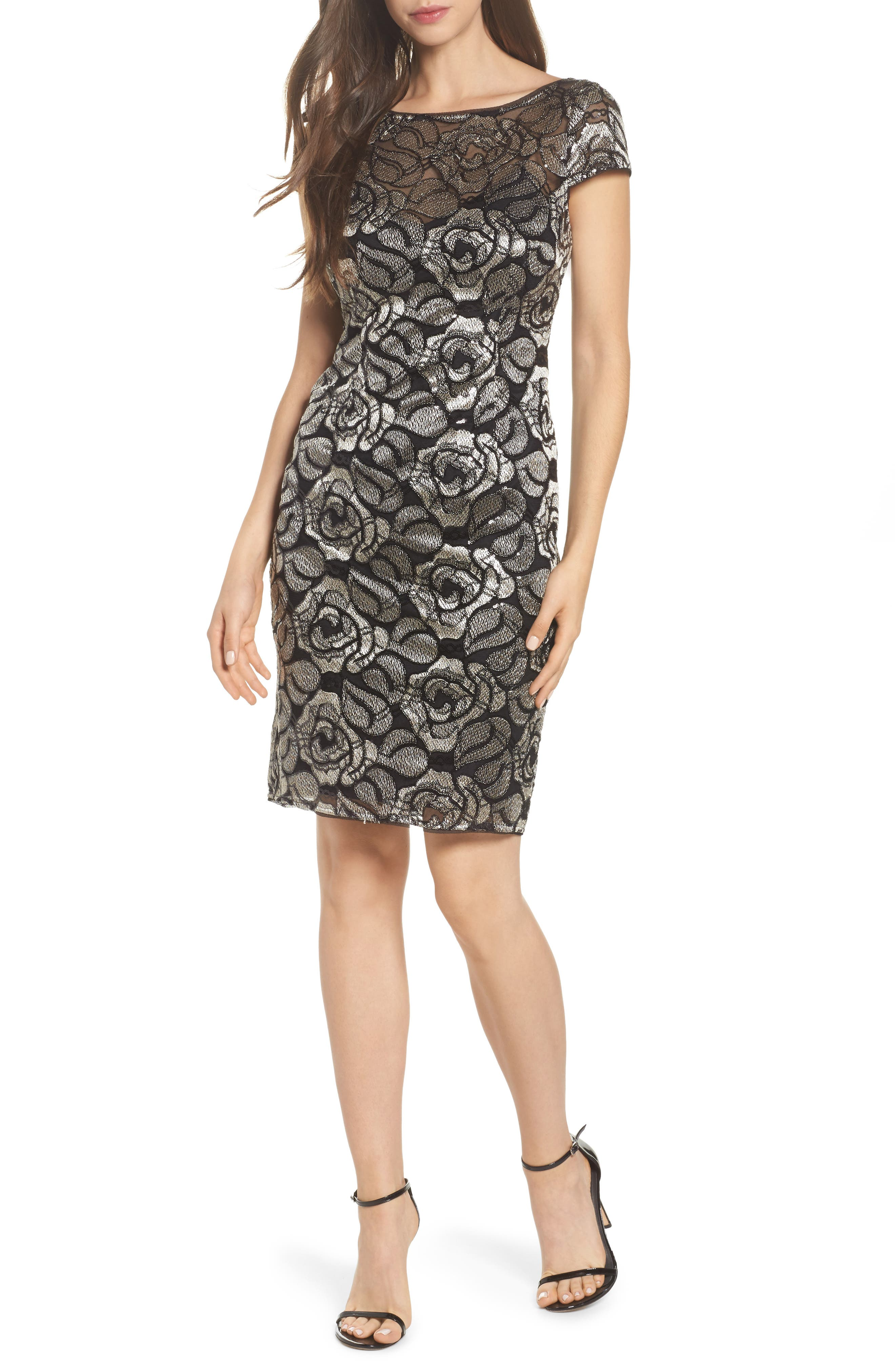 Sequin Embroidered Rose Cocktail Dress,                         Main,                         color, Black/Gold