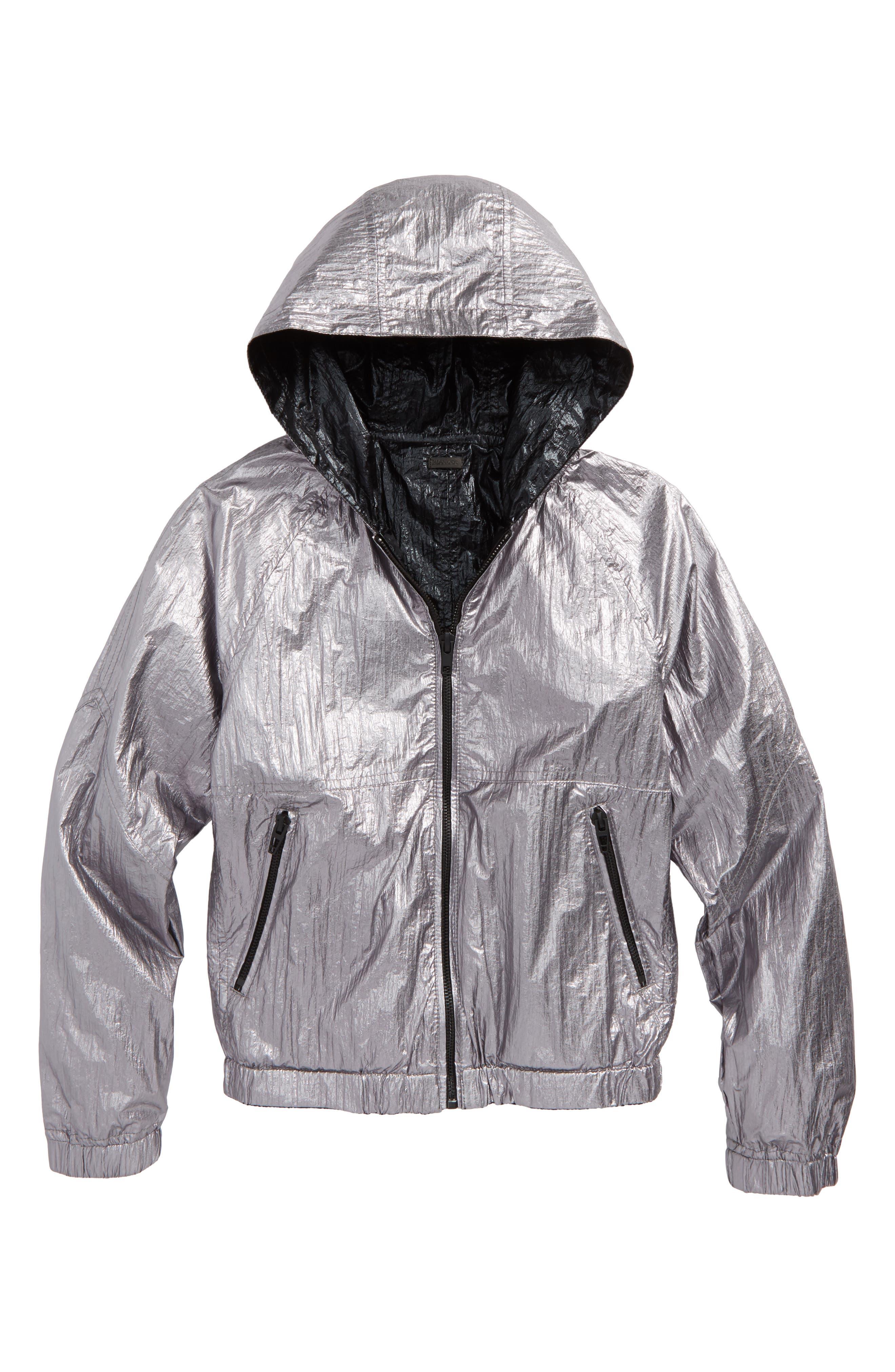 BLANCNYC Good Vibrations Reversible Hooded Jacket,                             Alternate thumbnail 2, color,                             Black/ Silver