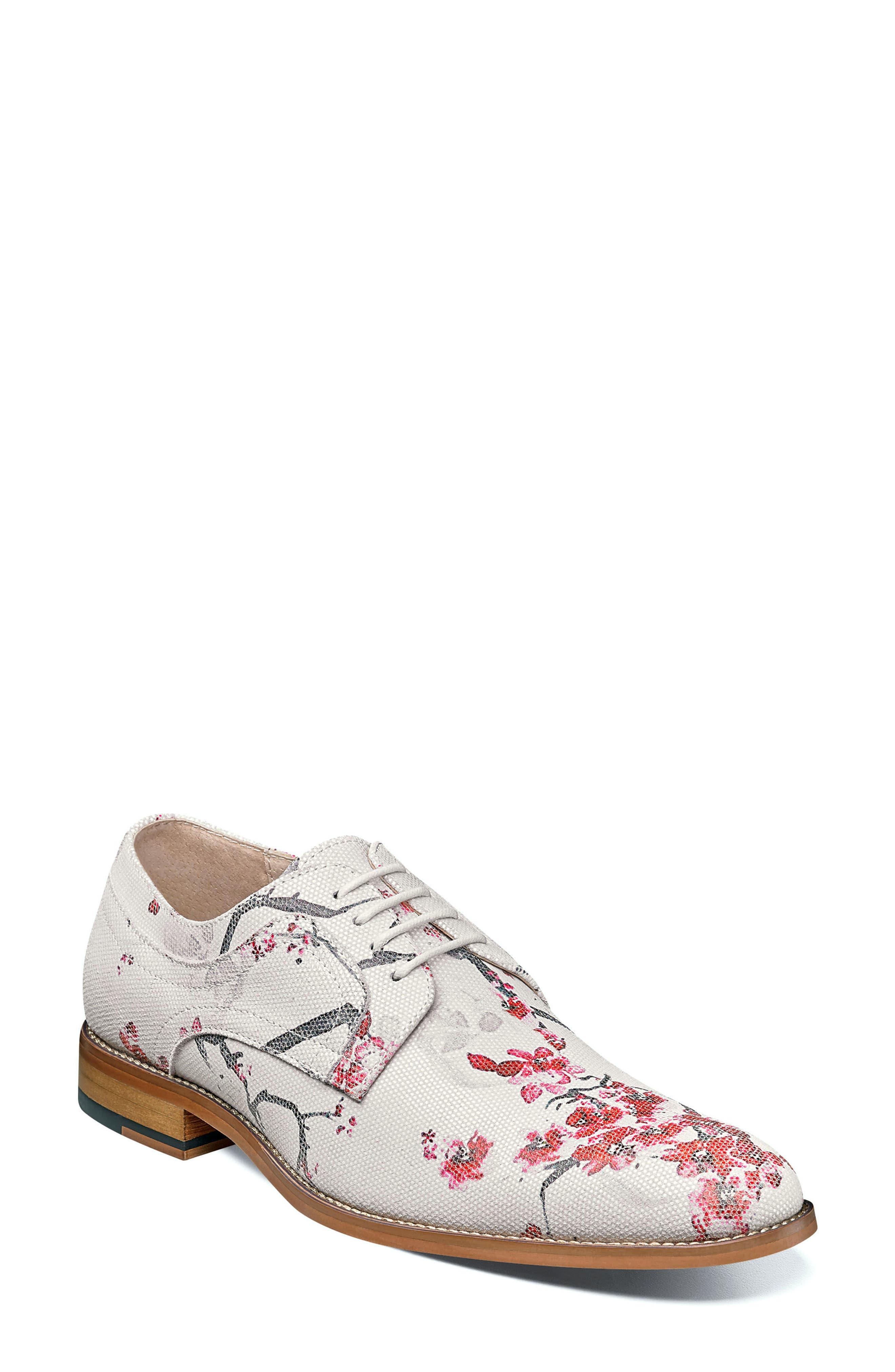Dandy Print Plain Toe Derby,                         Main,                         color, White Leather