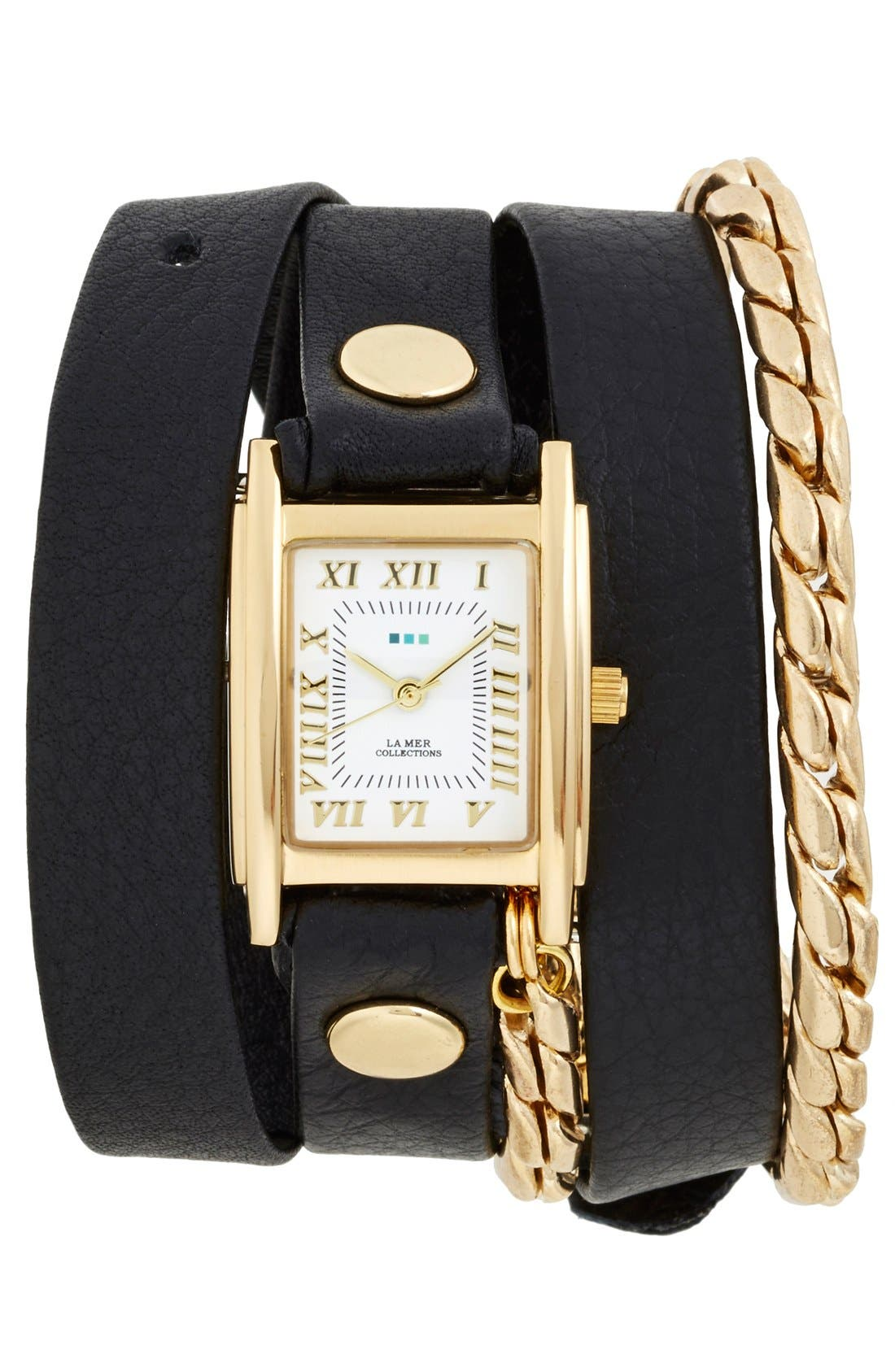 Leather & Chain Wrap Watch, 19mm,                         Main,                         color, Black/ Gold