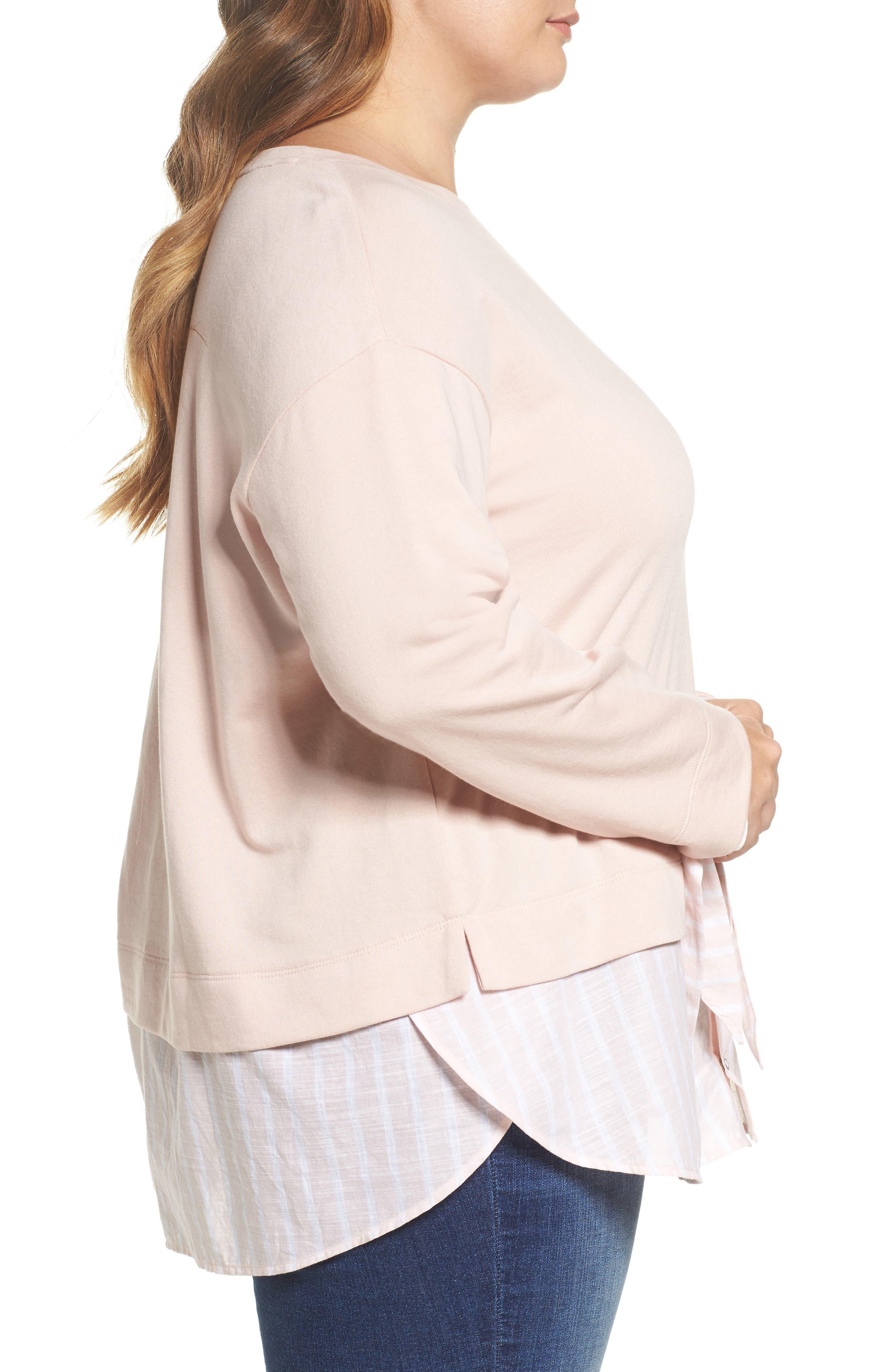 Woven Hem Sweatshirt,                             Alternate thumbnail 3, color,                             Pink- Stripe Colorblock