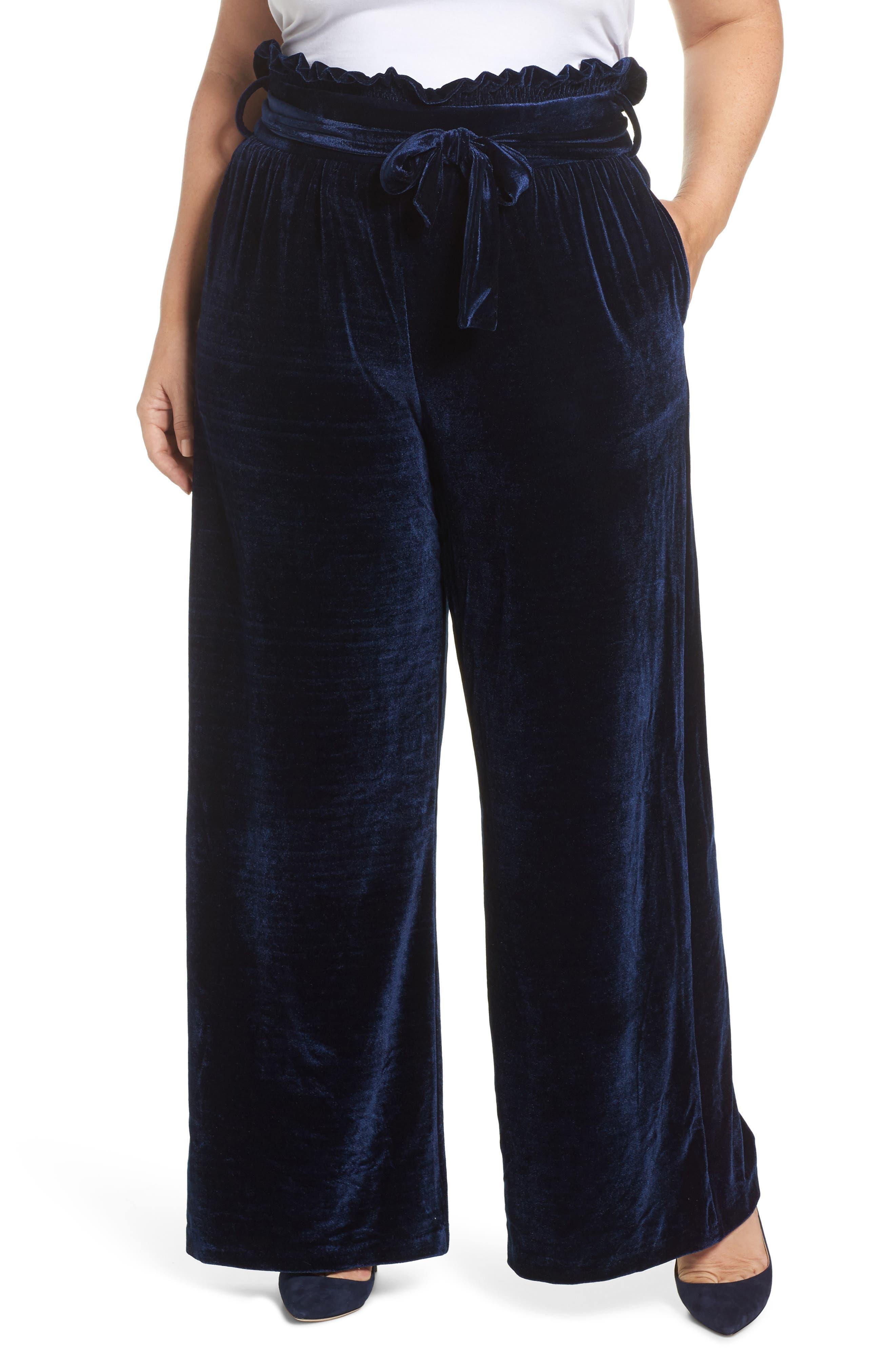 Wide Leg Velvet Pants,                         Main,                         color, Navy