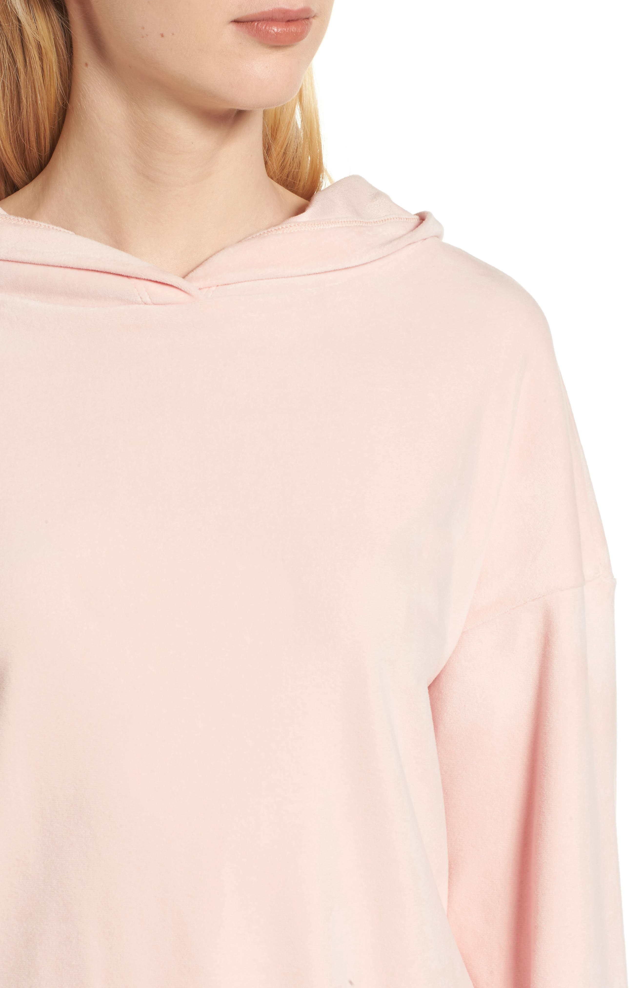 Velour Hoodie,                             Alternate thumbnail 4, color,                             Blush