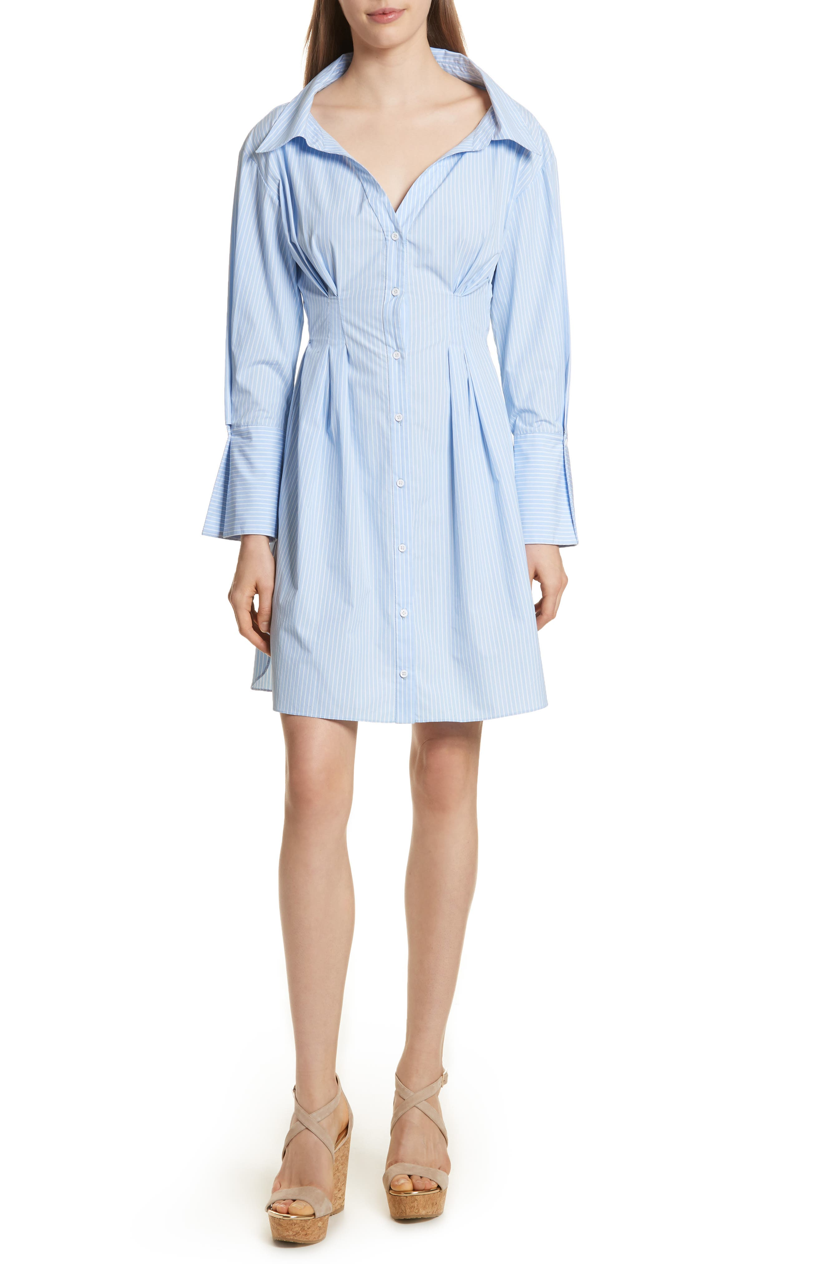 Vergie Seamed Shirtdress,                         Main,                         color, Oxford Blue