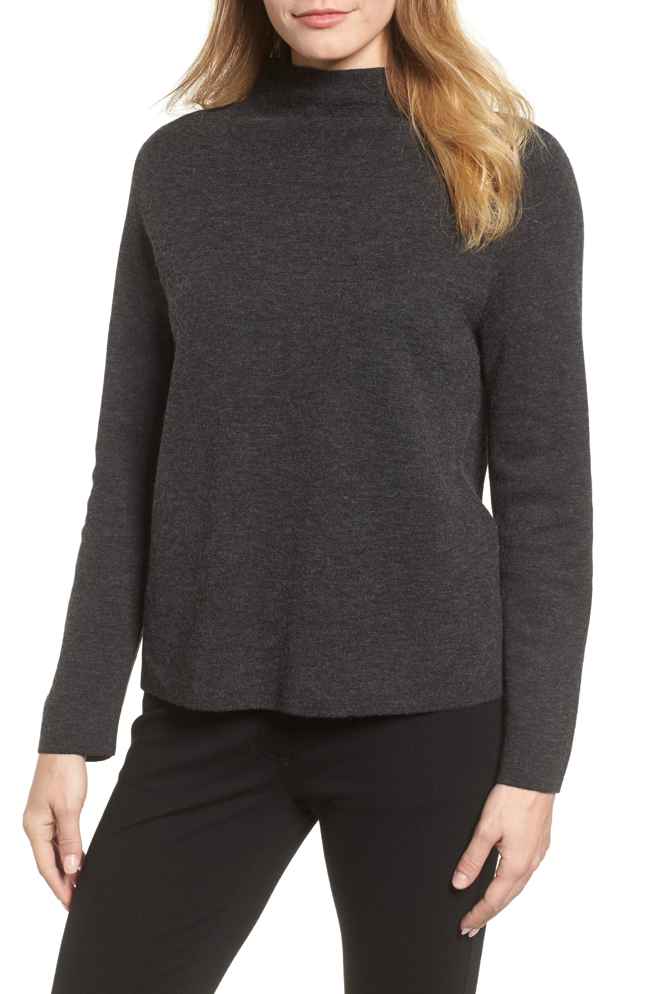 Funnel Neck Sweater,                             Main thumbnail 1, color,                             Charcoal