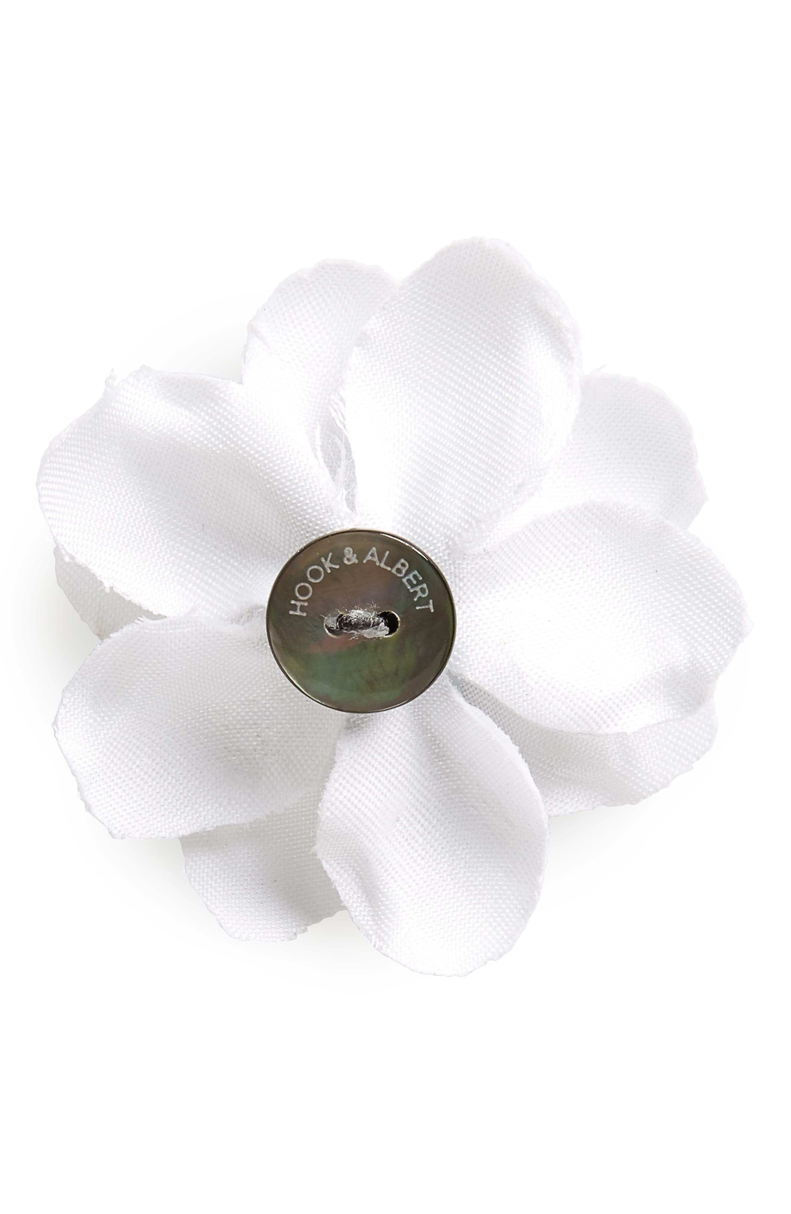 Henry Satin Lapel Flower,                             Alternate thumbnail 2, color,                             White With Navy