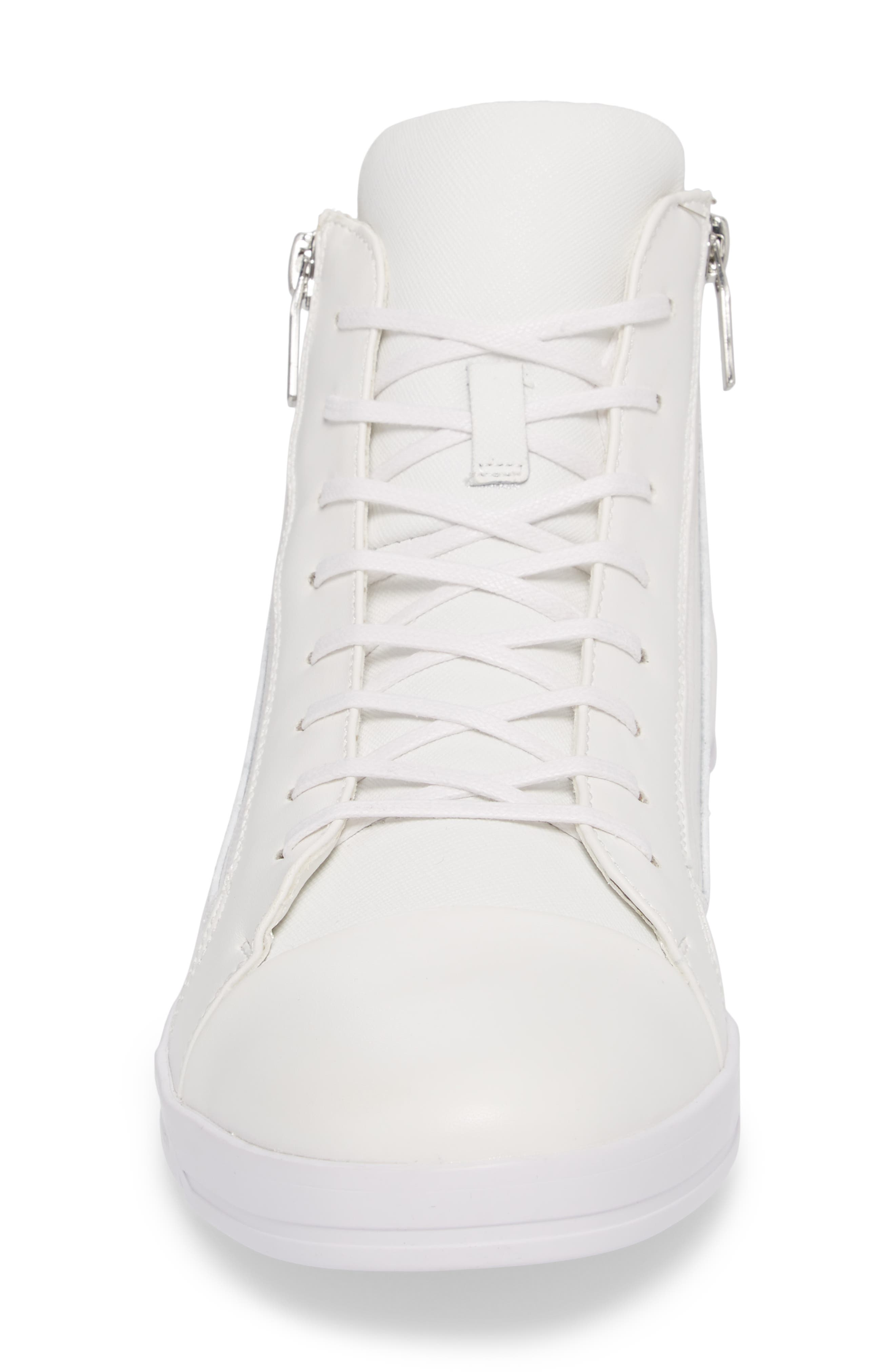 Berke High Top Sneaker,                             Alternate thumbnail 4, color,                             White Leather