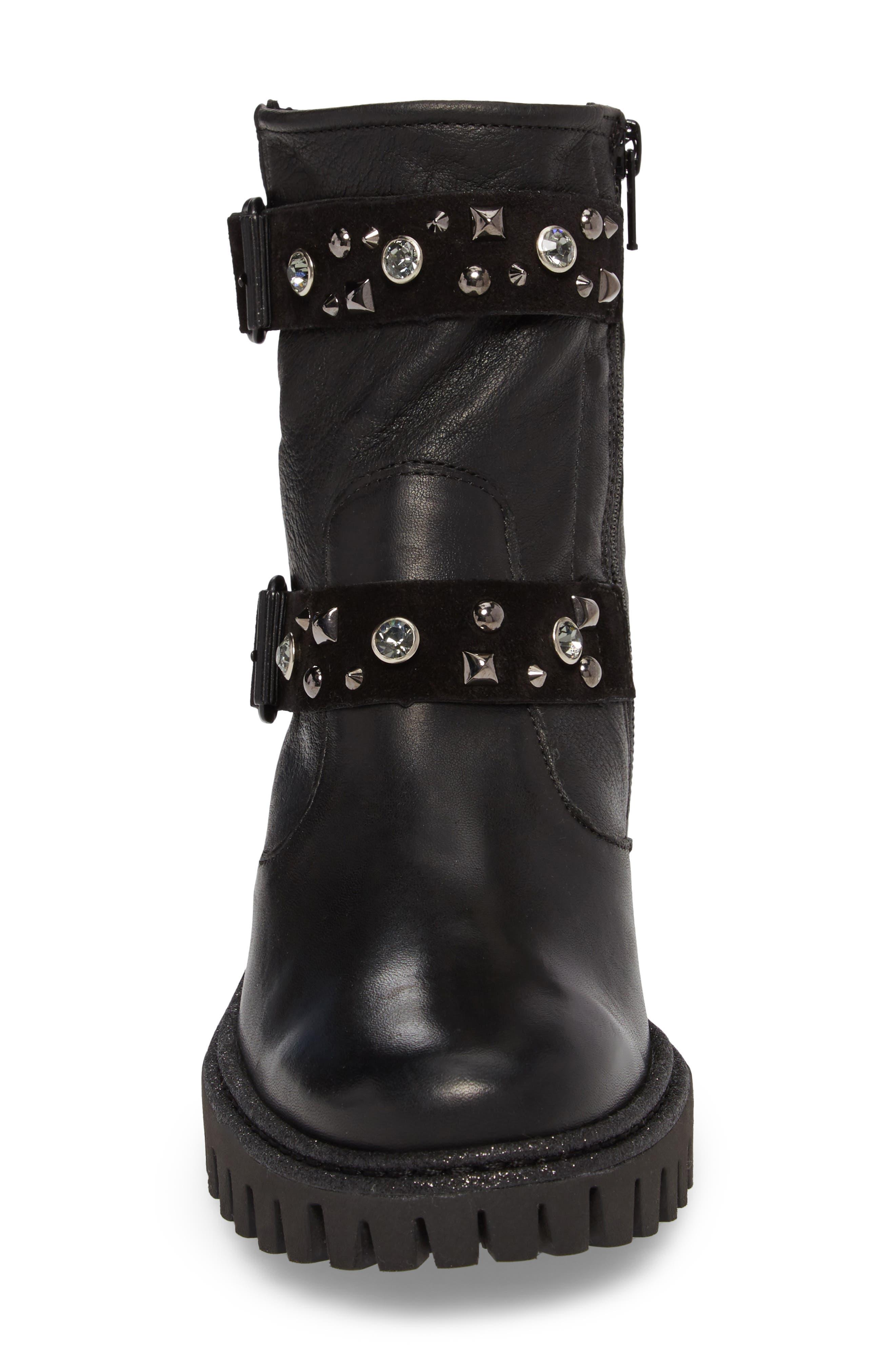 Rivet Moto Boot,                             Alternate thumbnail 4, color,                             Black Leather