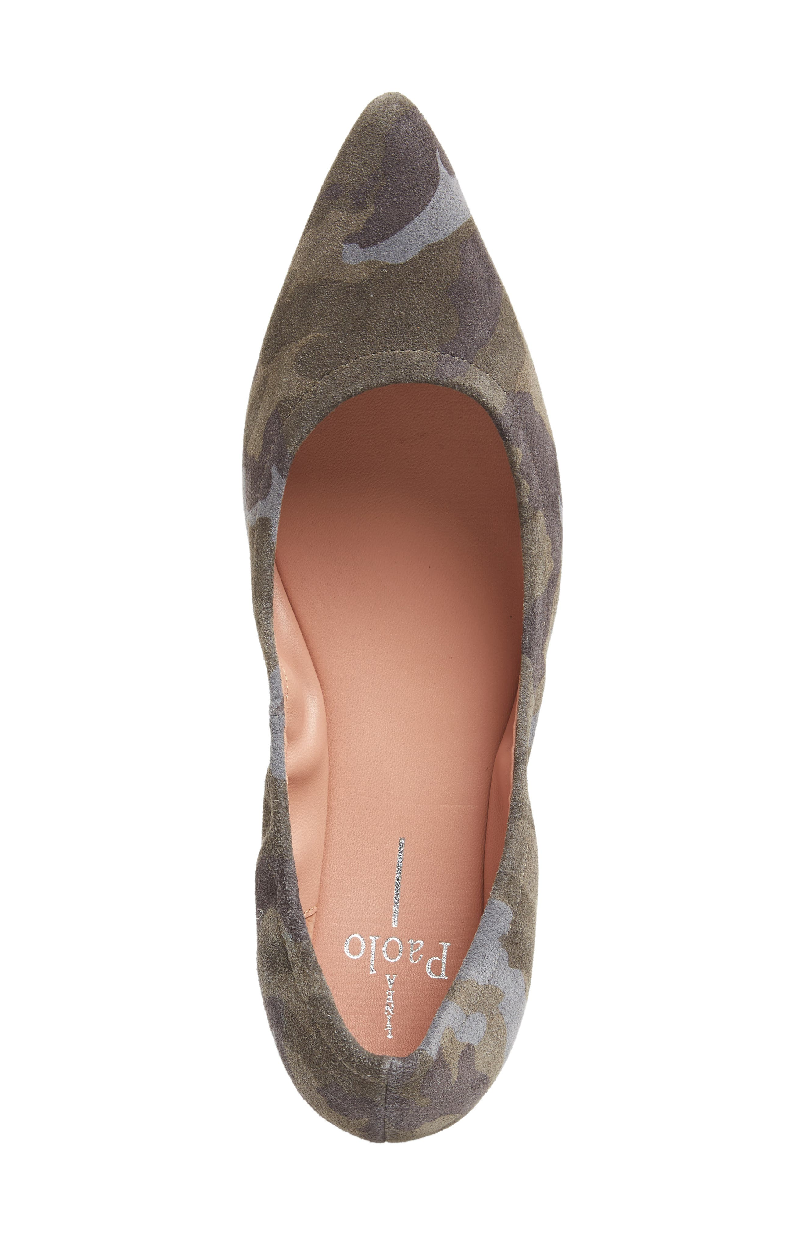 Nico Pointy Toe Flat,                             Alternate thumbnail 5, color,                             Camouflage Suede