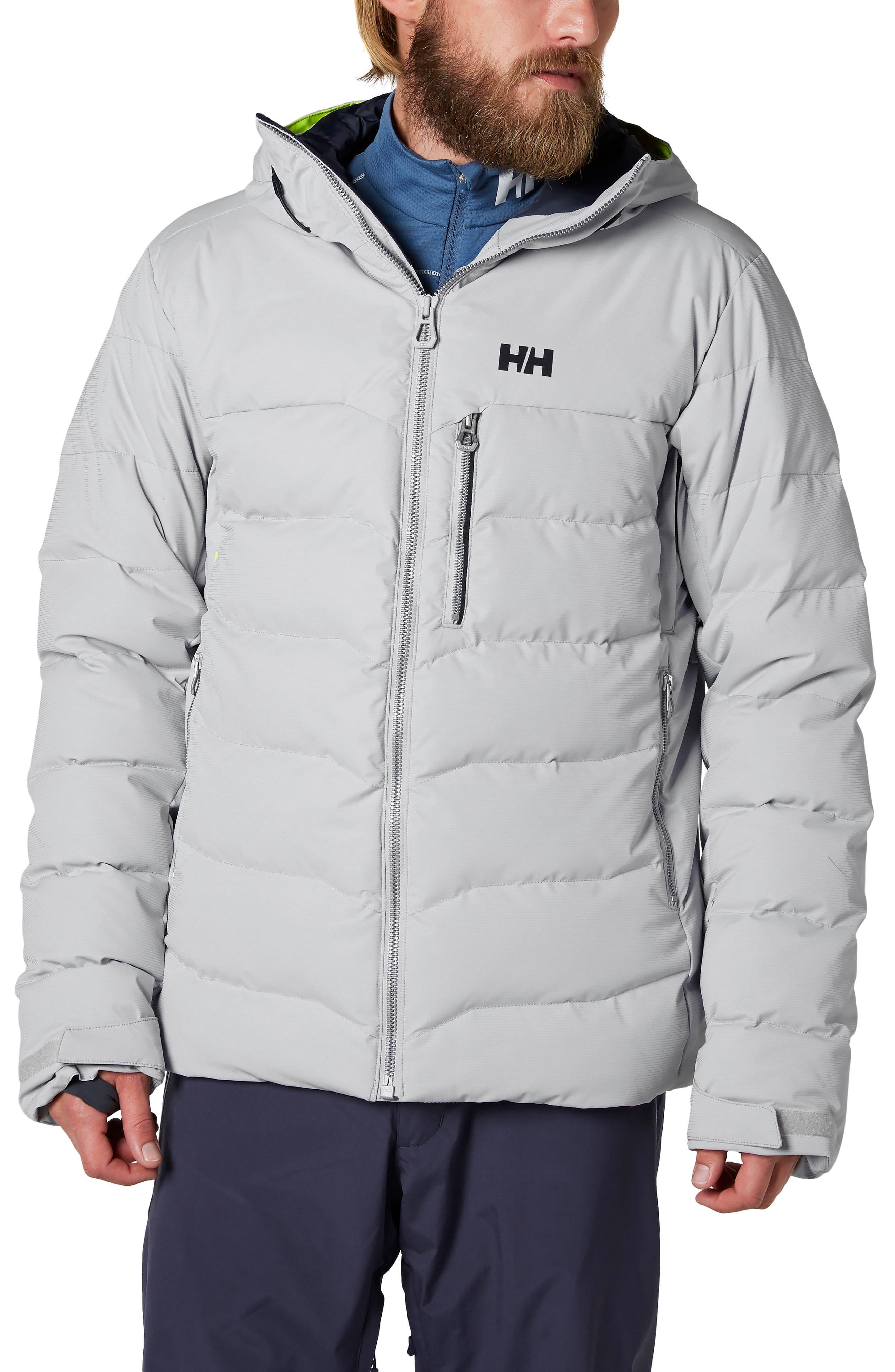 Swift Waterproof Down Hooded Jacket,                             Main thumbnail 1, color,                             Light Grey