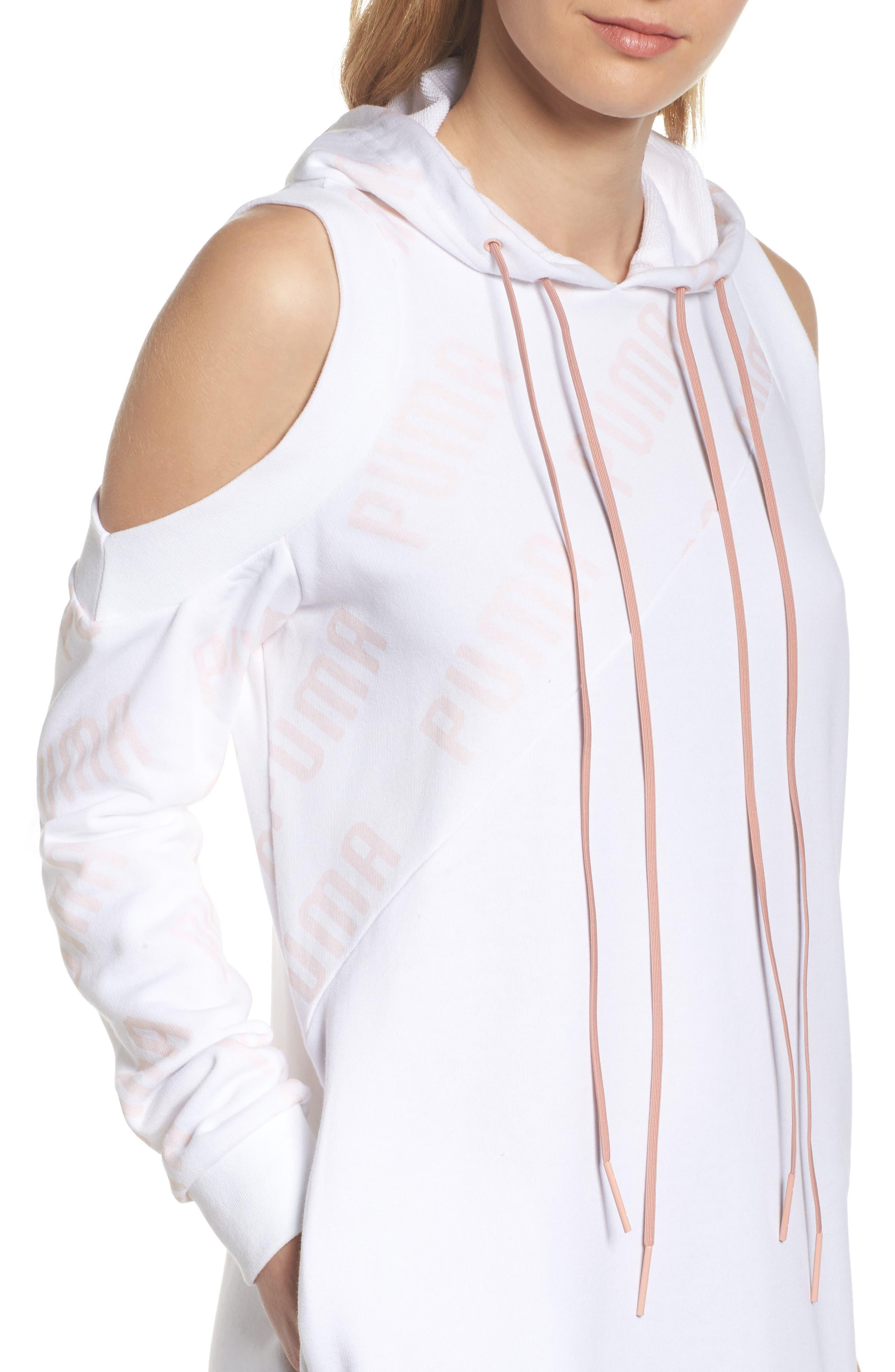 En Pointe Drawstring Dress,                             Alternate thumbnail 4, color,                             Puma White