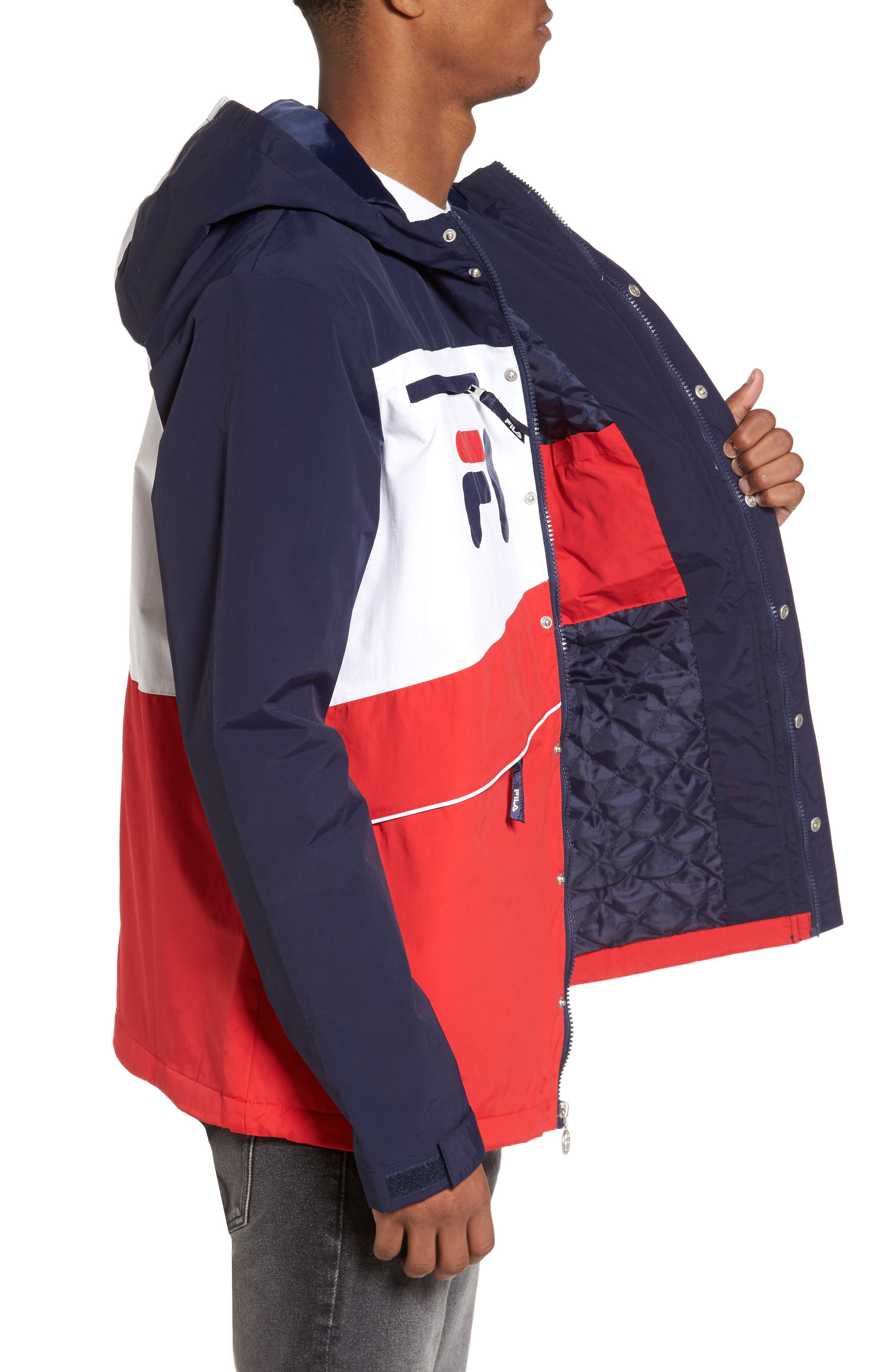 Linden Jacket,                             Alternate thumbnail 3, color,                             Navy/ White/ Chinese Red