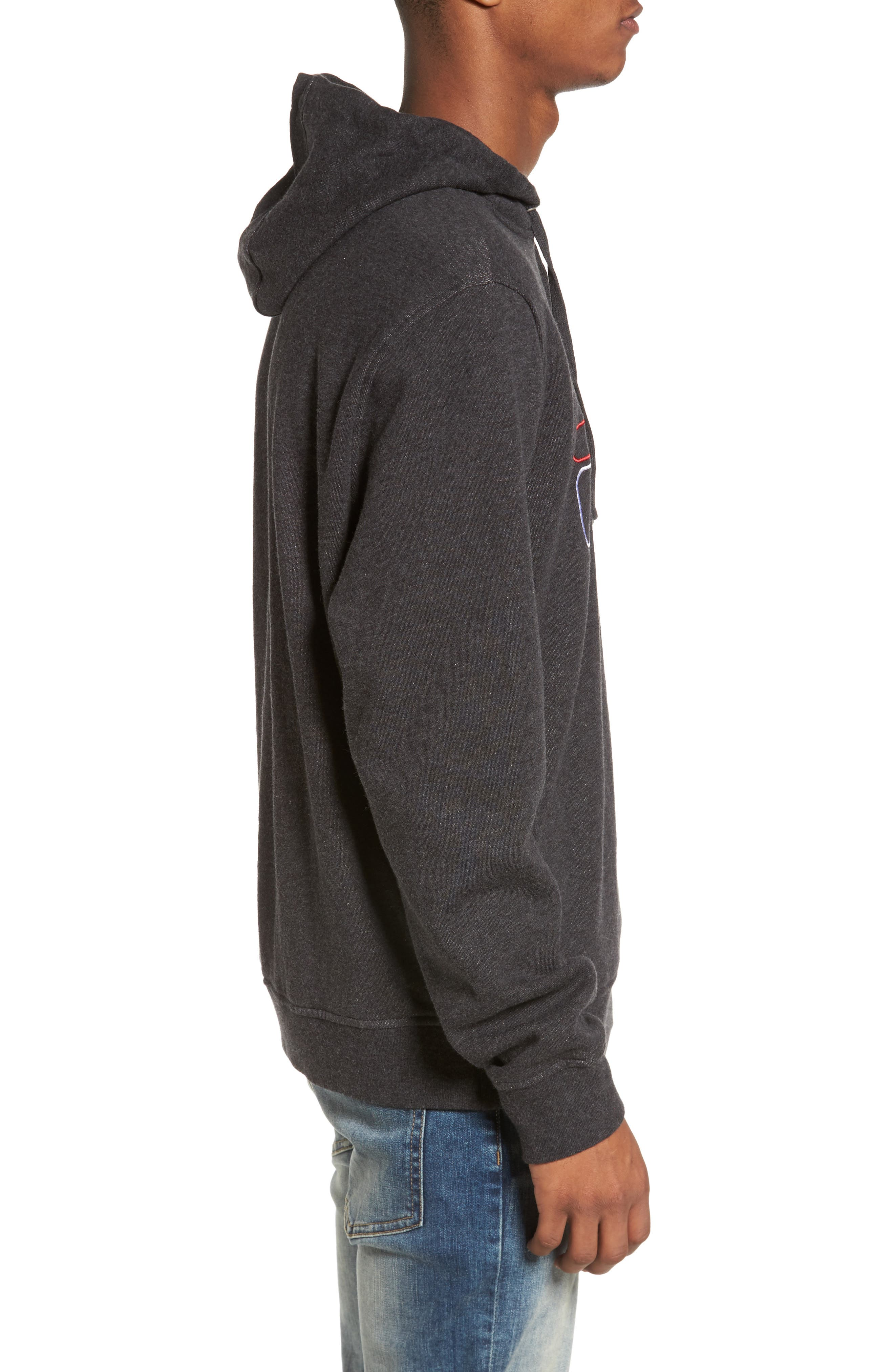 Brooklyn Hoodie,                             Alternate thumbnail 3, color,                             Black Heather/ White/ Red