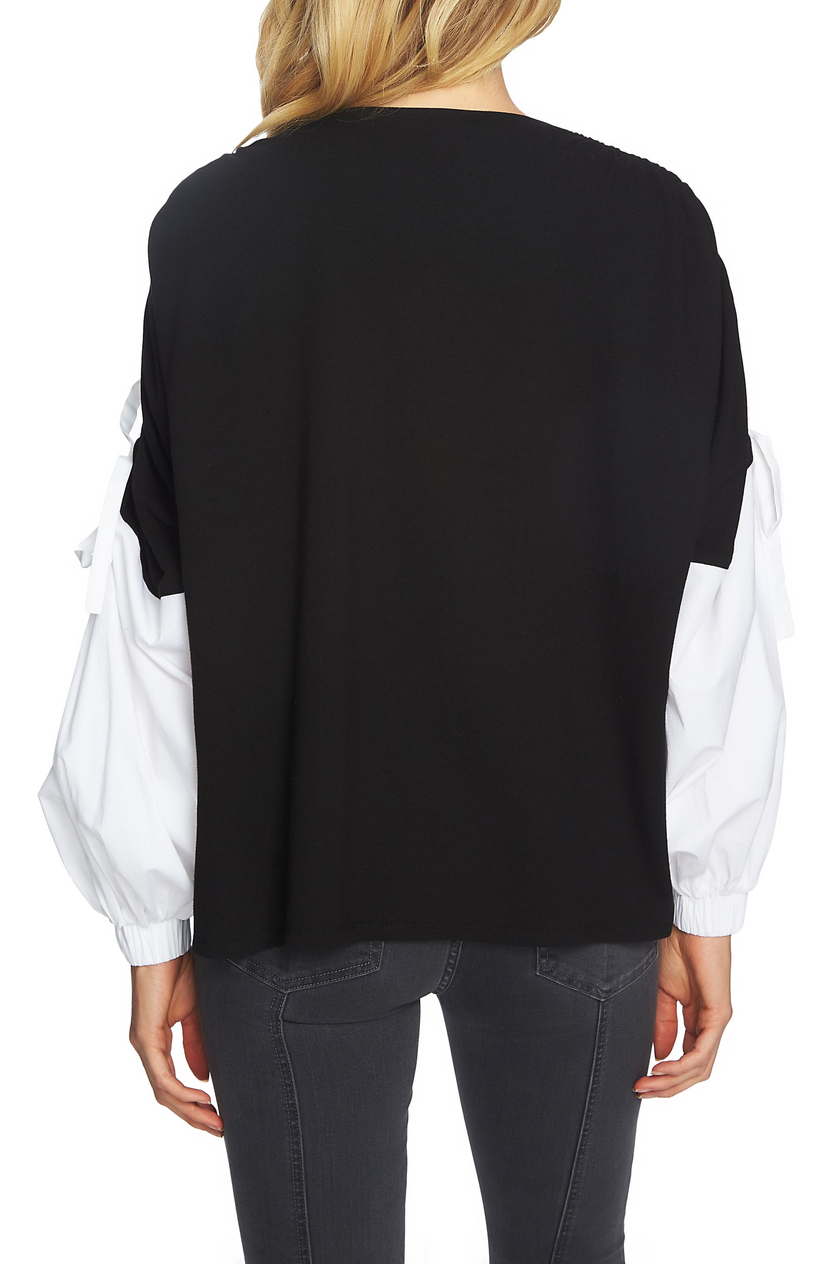 Drawstring Sleeve Top,                             Alternate thumbnail 2, color,                             Rich Black