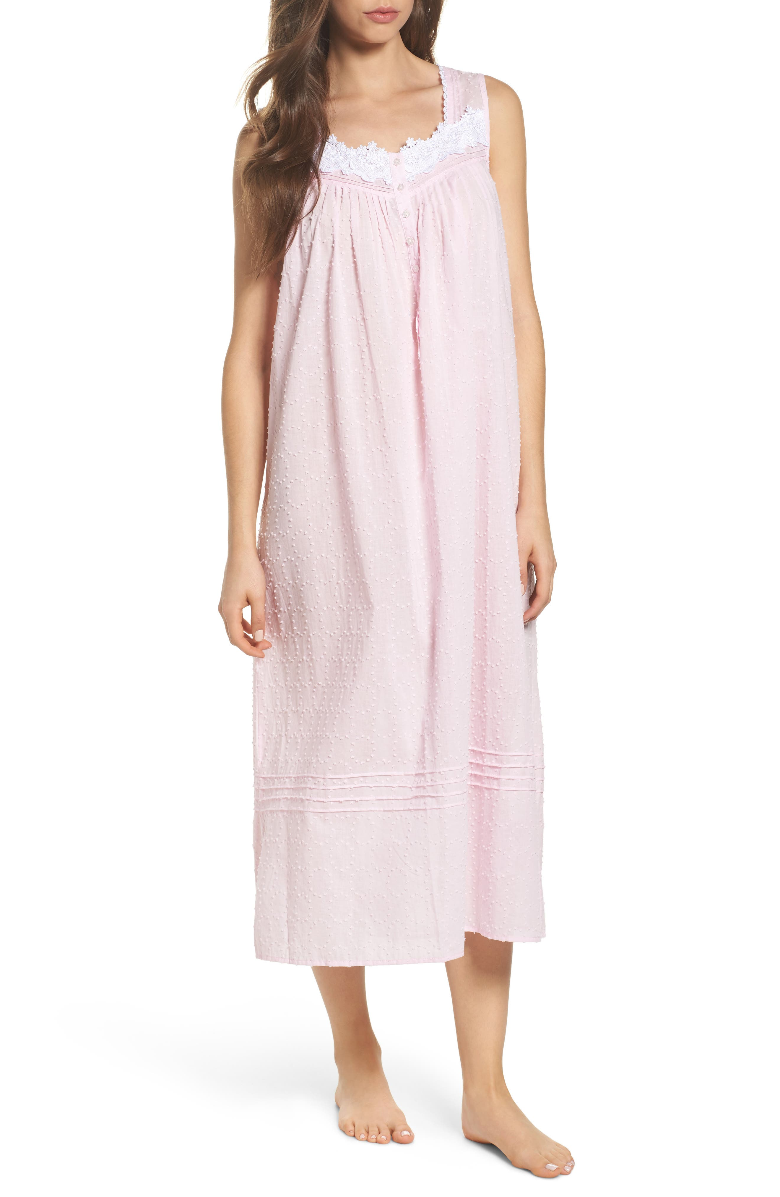Swiss Dot Nightgown,                         Main,                         color, Solid Rose Circle Clip Dot